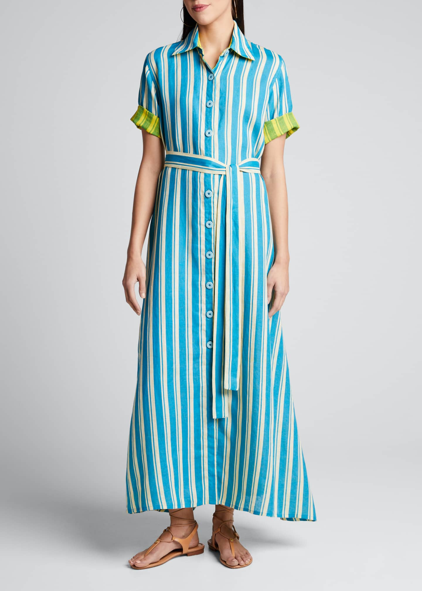 Evi Grintela Sunflower Linen Belted Shirtdress