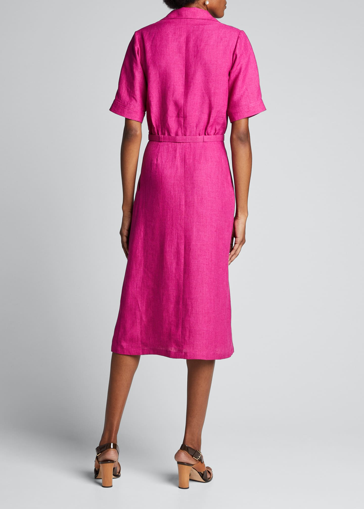 Image 2 of 5: Linen Midi Belted Shirtdress