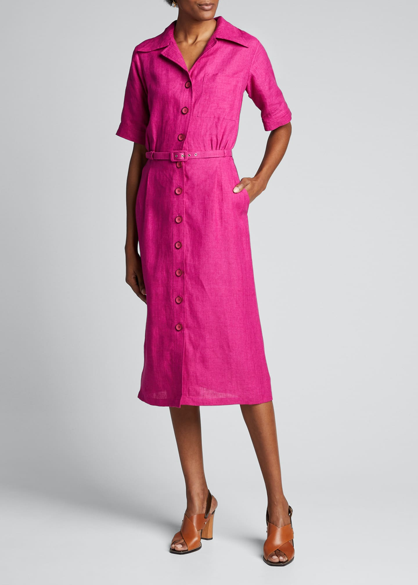 Image 3 of 5: Linen Midi Belted Shirtdress