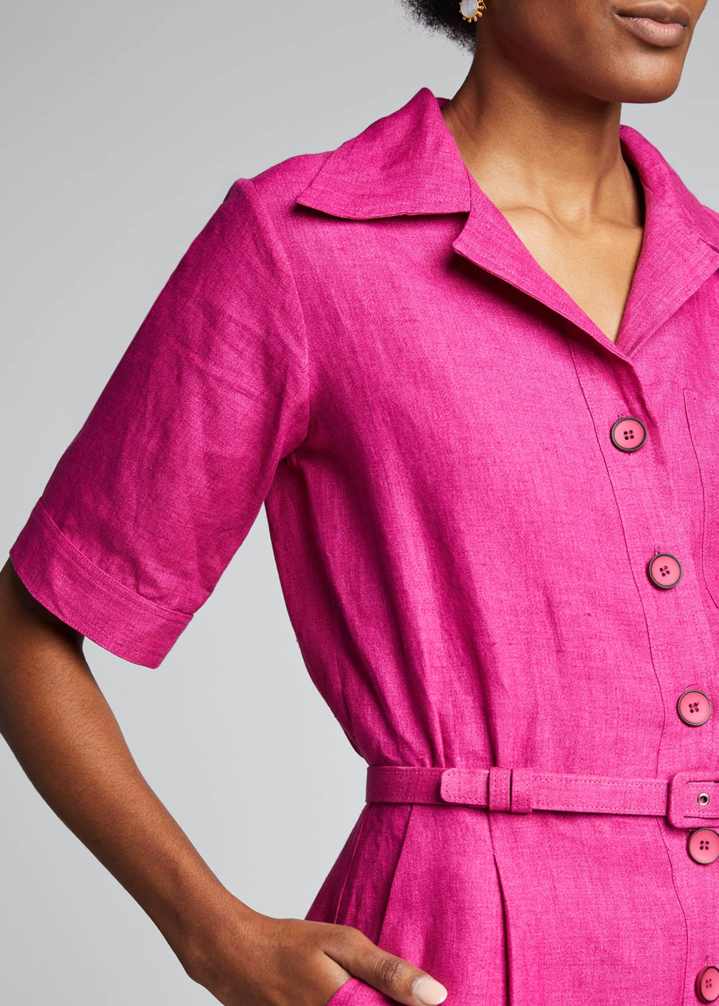 Image 4 of 5: Linen Midi Belted Shirtdress