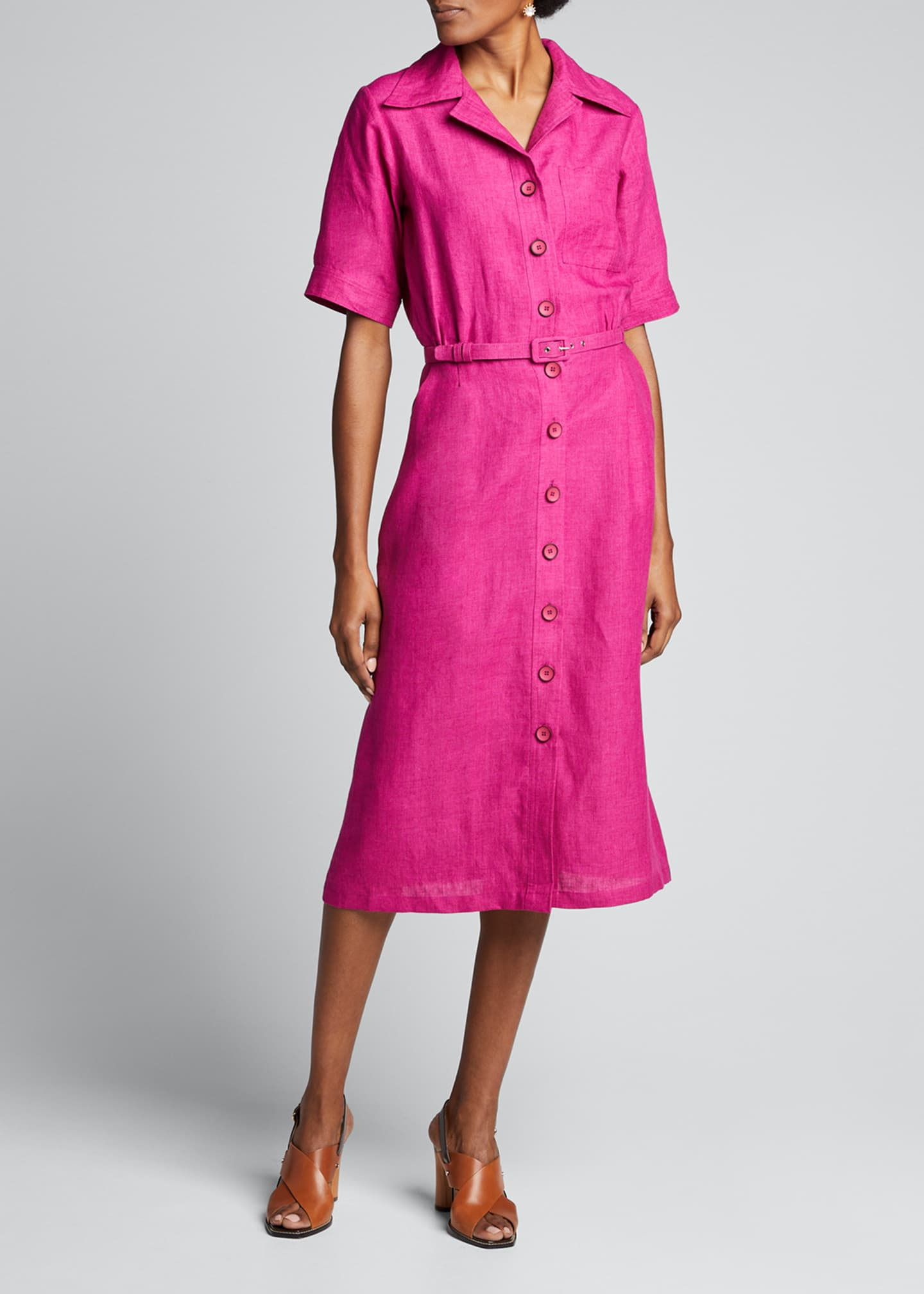 Image 1 of 5: Linen Midi Belted Shirtdress