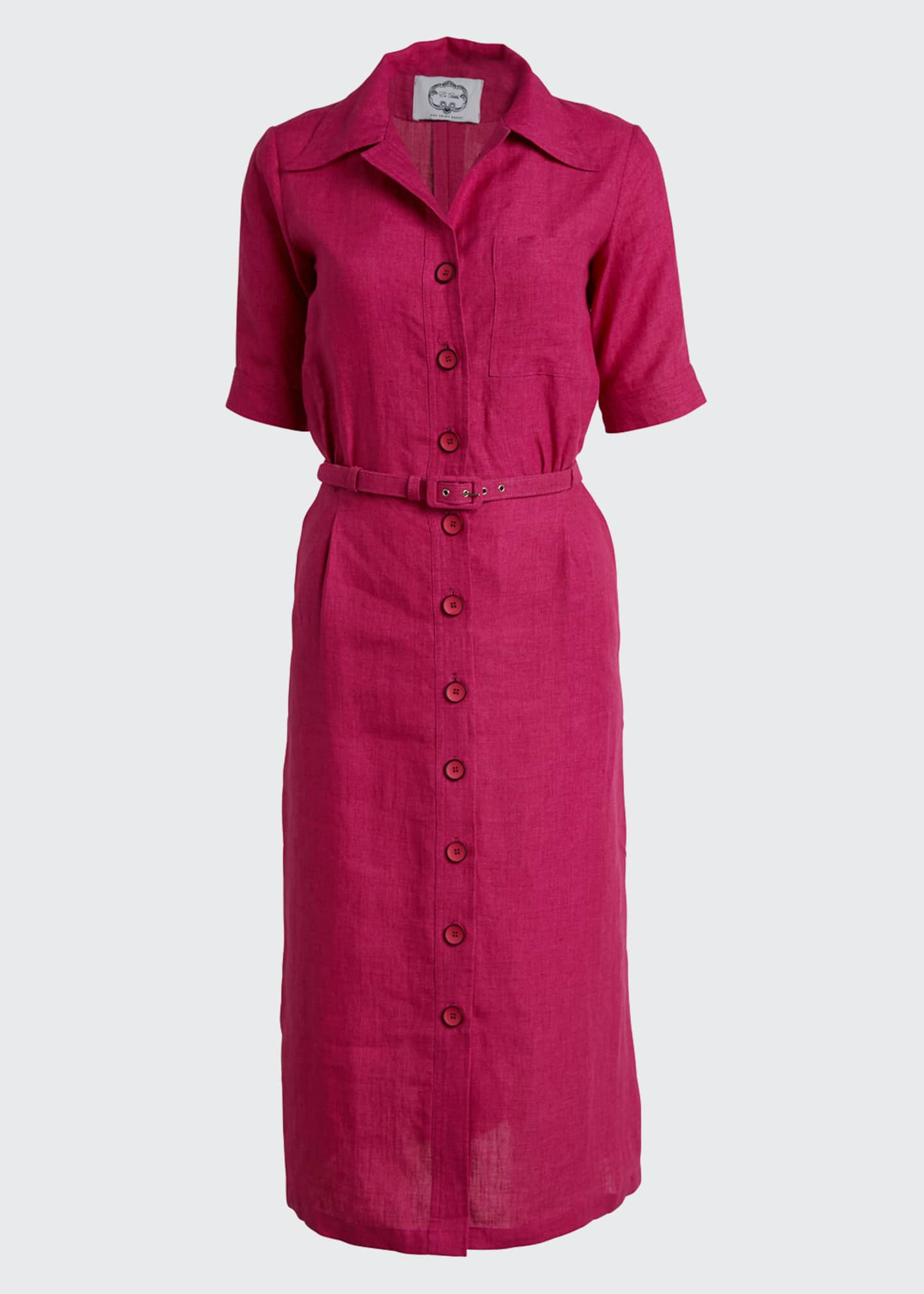 Image 5 of 5: Linen Midi Belted Shirtdress