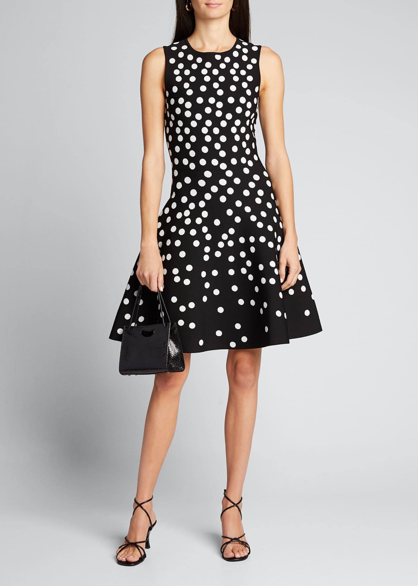 Image 1 of 5: Polka Dot Fit-&-Flare Dress