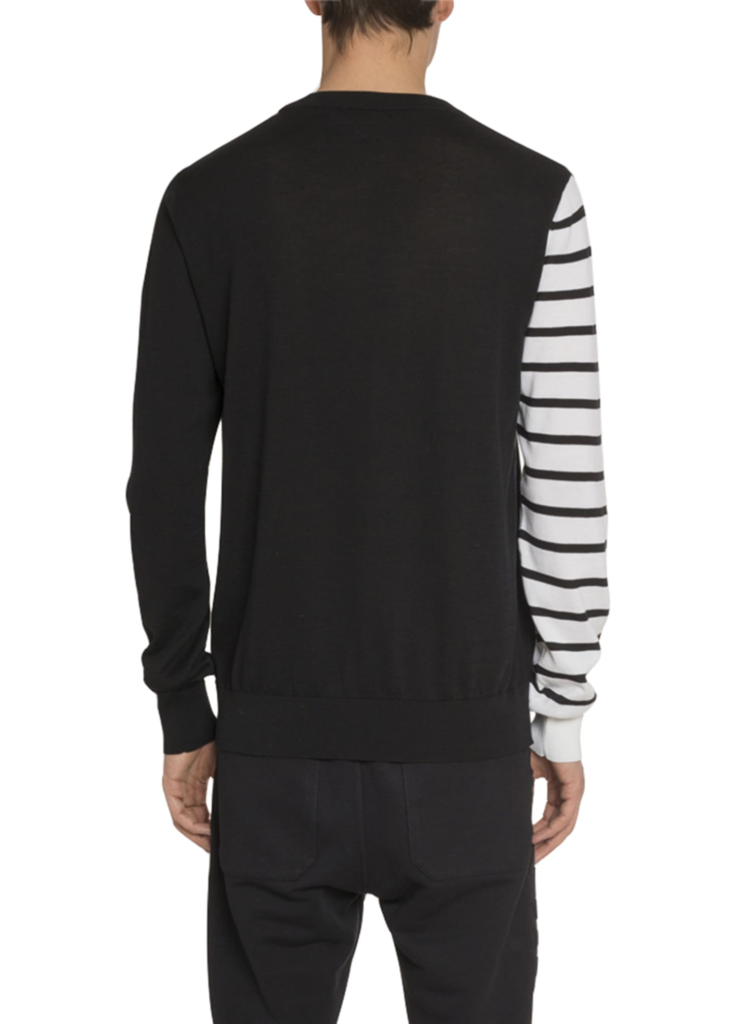 Image 2 of 2: Men's Colorblock Striped-Sleeve Logo Sweater