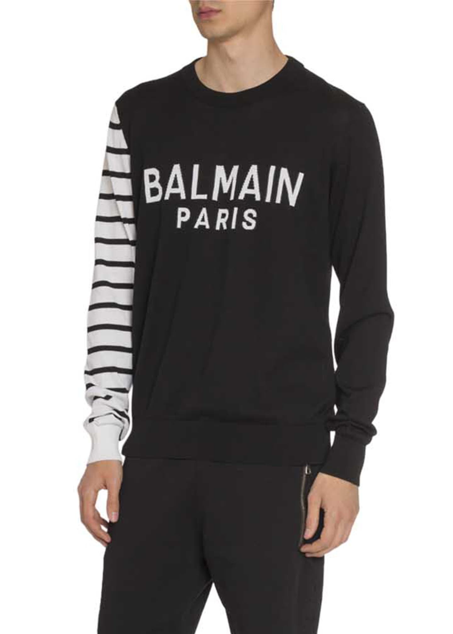 Image 1 of 2: Men's Colorblock Striped-Sleeve Logo Sweater