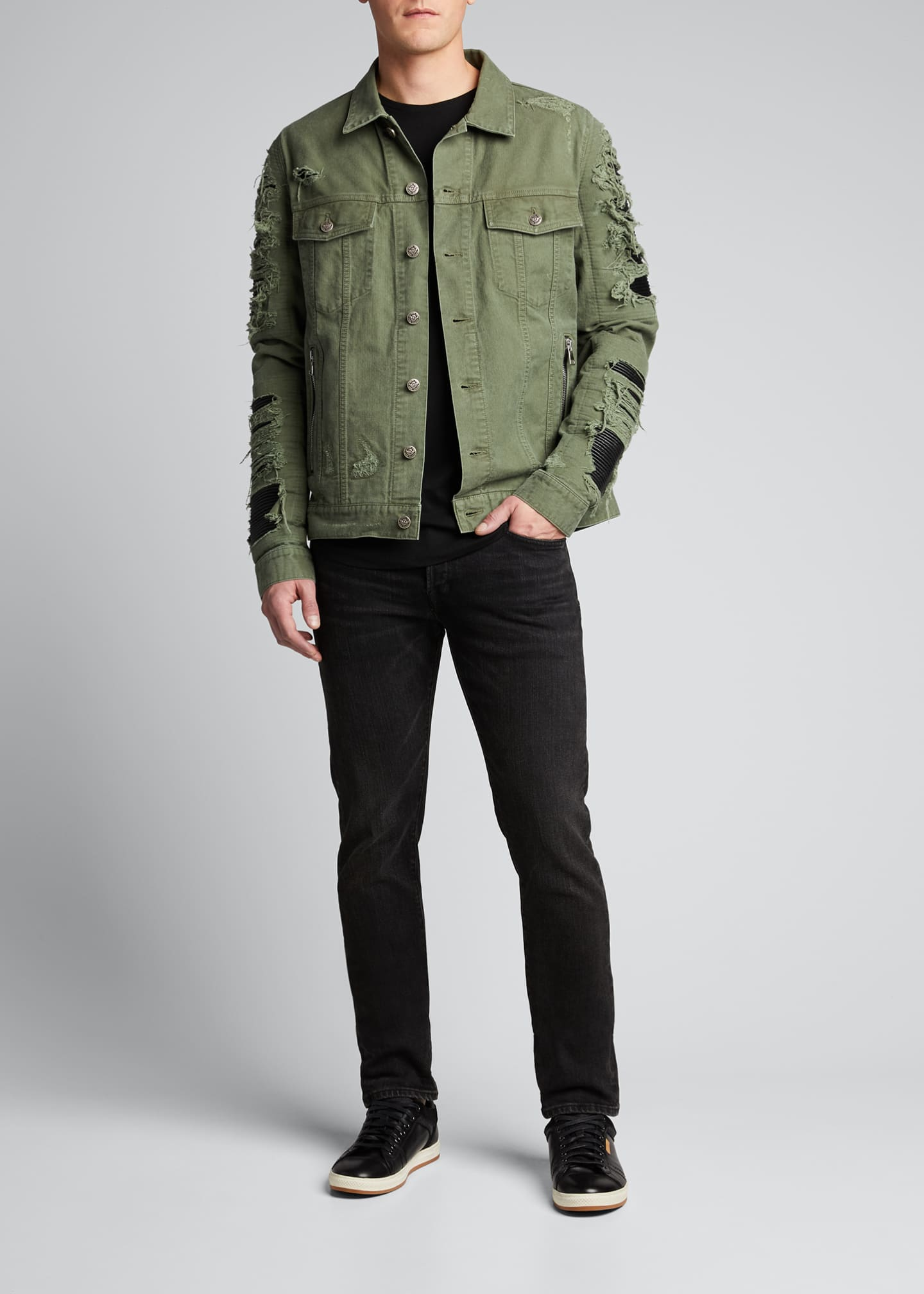Image 1 of 5: Men's Destroyed Denim & Faux-Leather Jacket