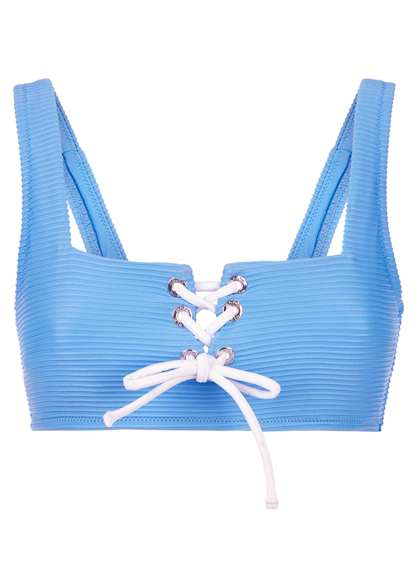 Image 3 of 4: Lace-Up Square-Neck Bikini Top