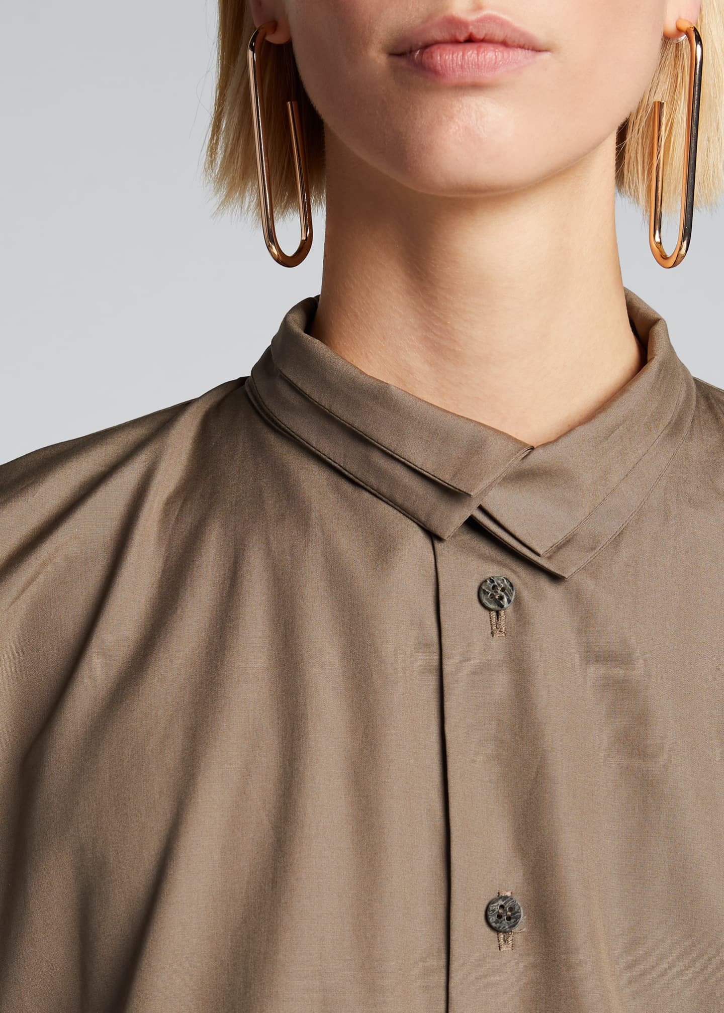 Image 4 of 5: Poplin Double-Collar Slim A-Line Shirt