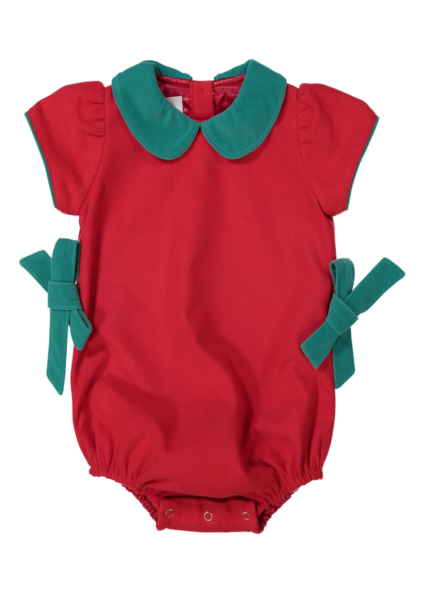 Petit Peony Girl's Holiday Bubble Bodysuit w/ Contrast