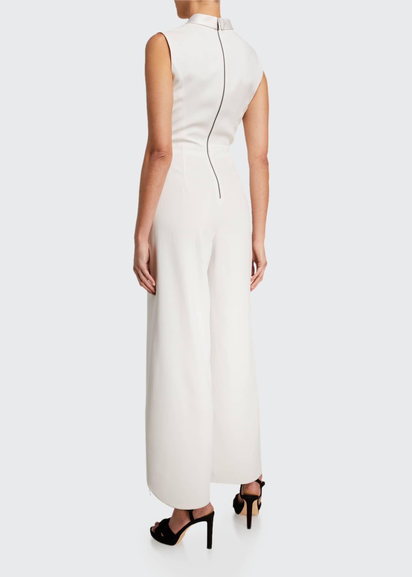 Image 2 of 2: Bebe Split Sleeveless Shawl-Collar Jumpsuit