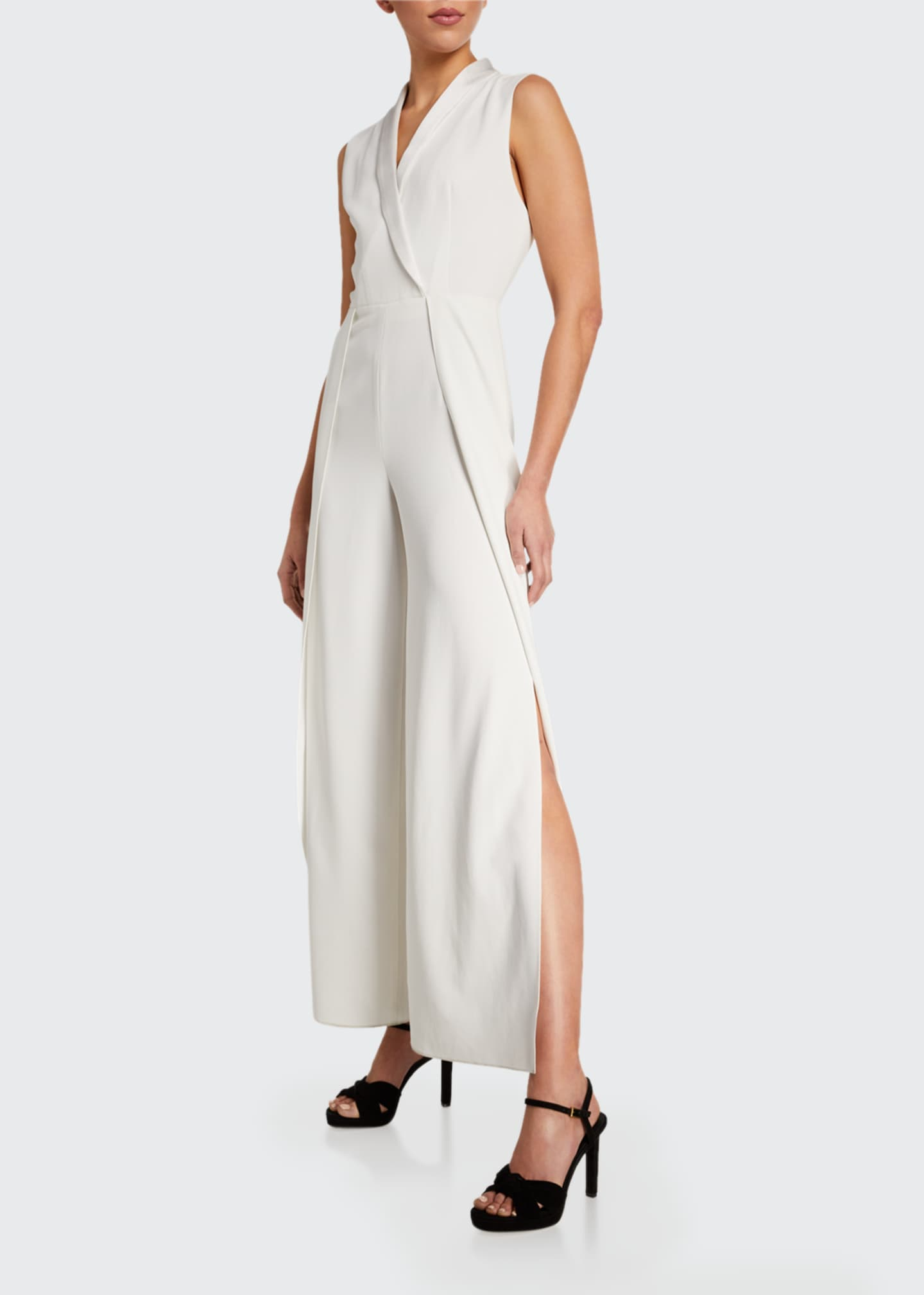 Image 1 of 2: Bebe Split Sleeveless Shawl-Collar Jumpsuit