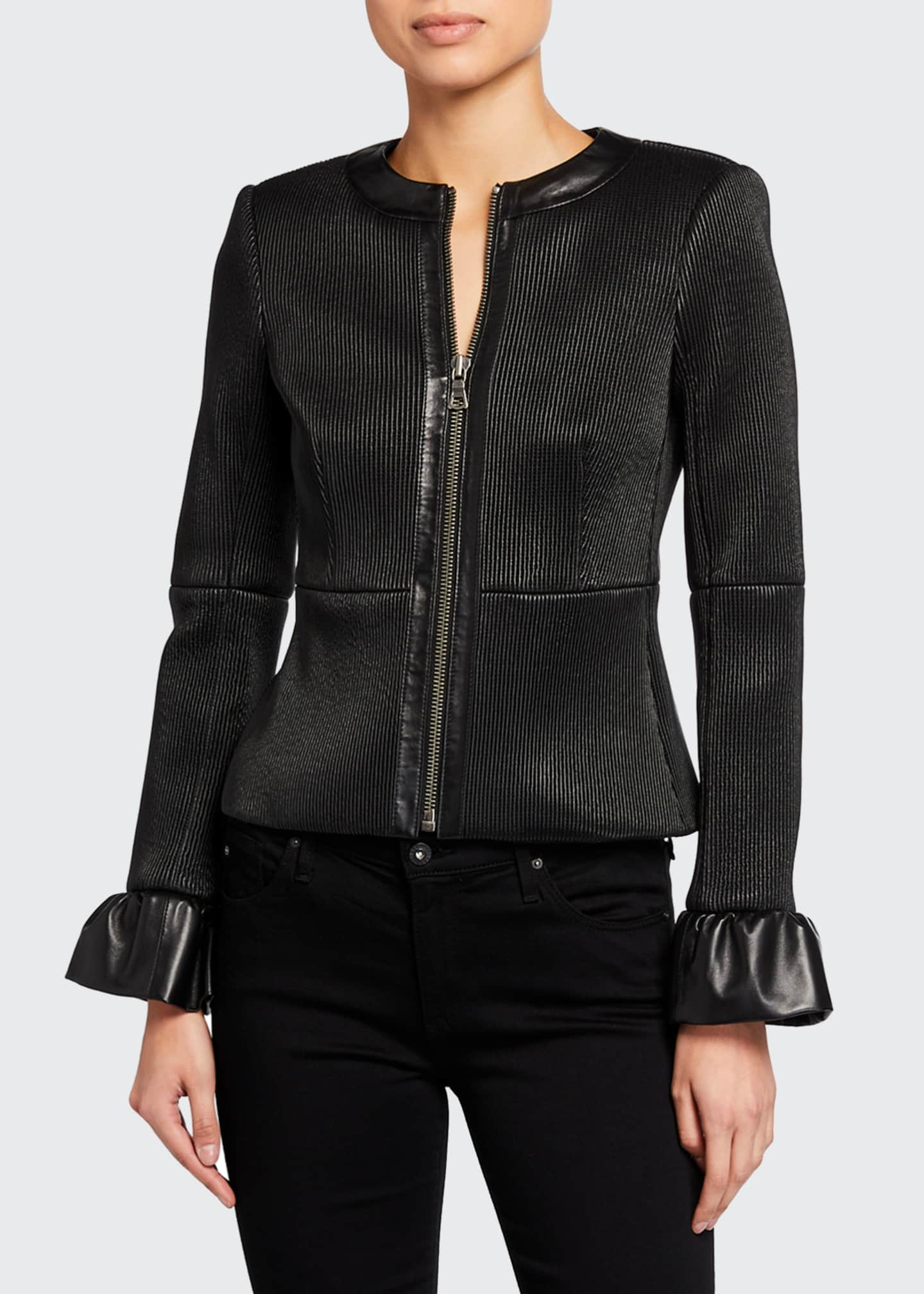 Image 2 of 3: Jonie Leather Jacket w/ Ruffled Cuffs