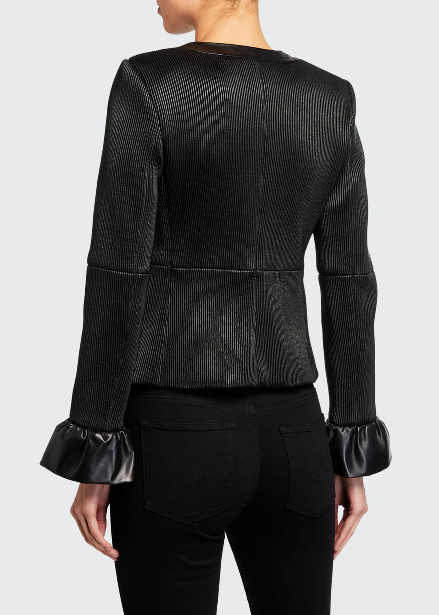 Image 3 of 3: Jonie Leather Jacket w/ Ruffled Cuffs