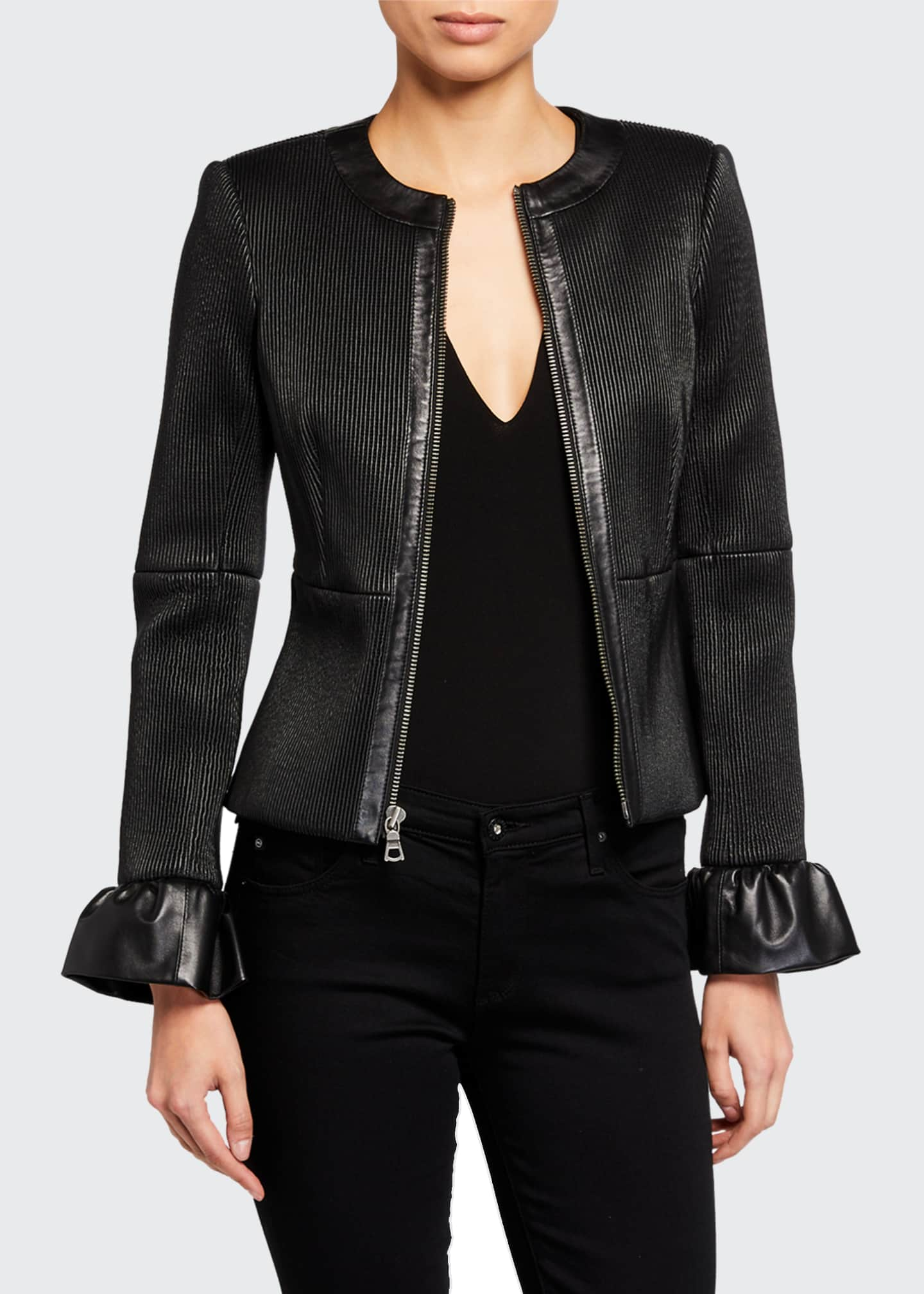 Image 1 of 3: Jonie Leather Jacket w/ Ruffled Cuffs