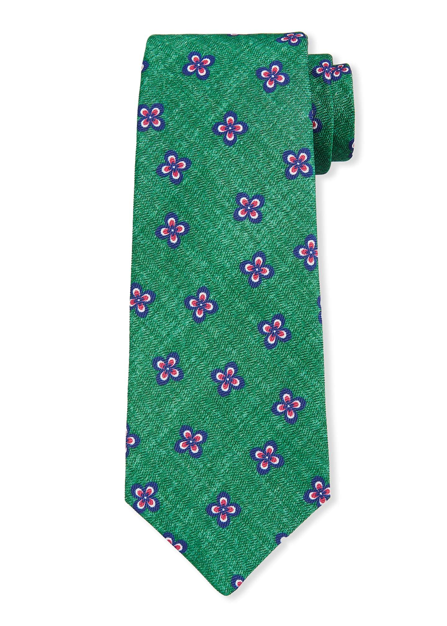 Kiton Men's Four Petal Flower Silk Tie