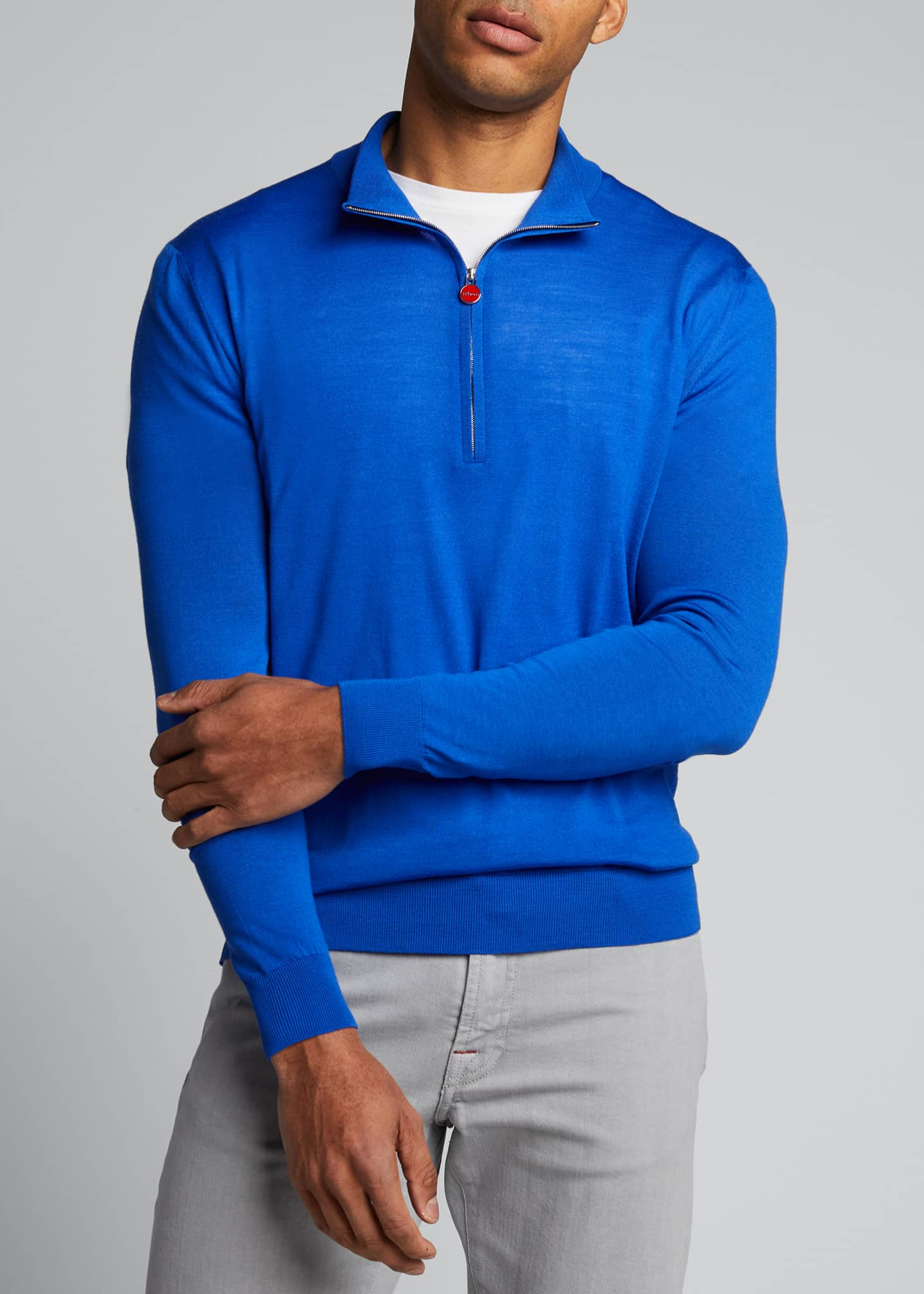 Image 3 of 5: Men's Quarter-Zip Wool Sweater