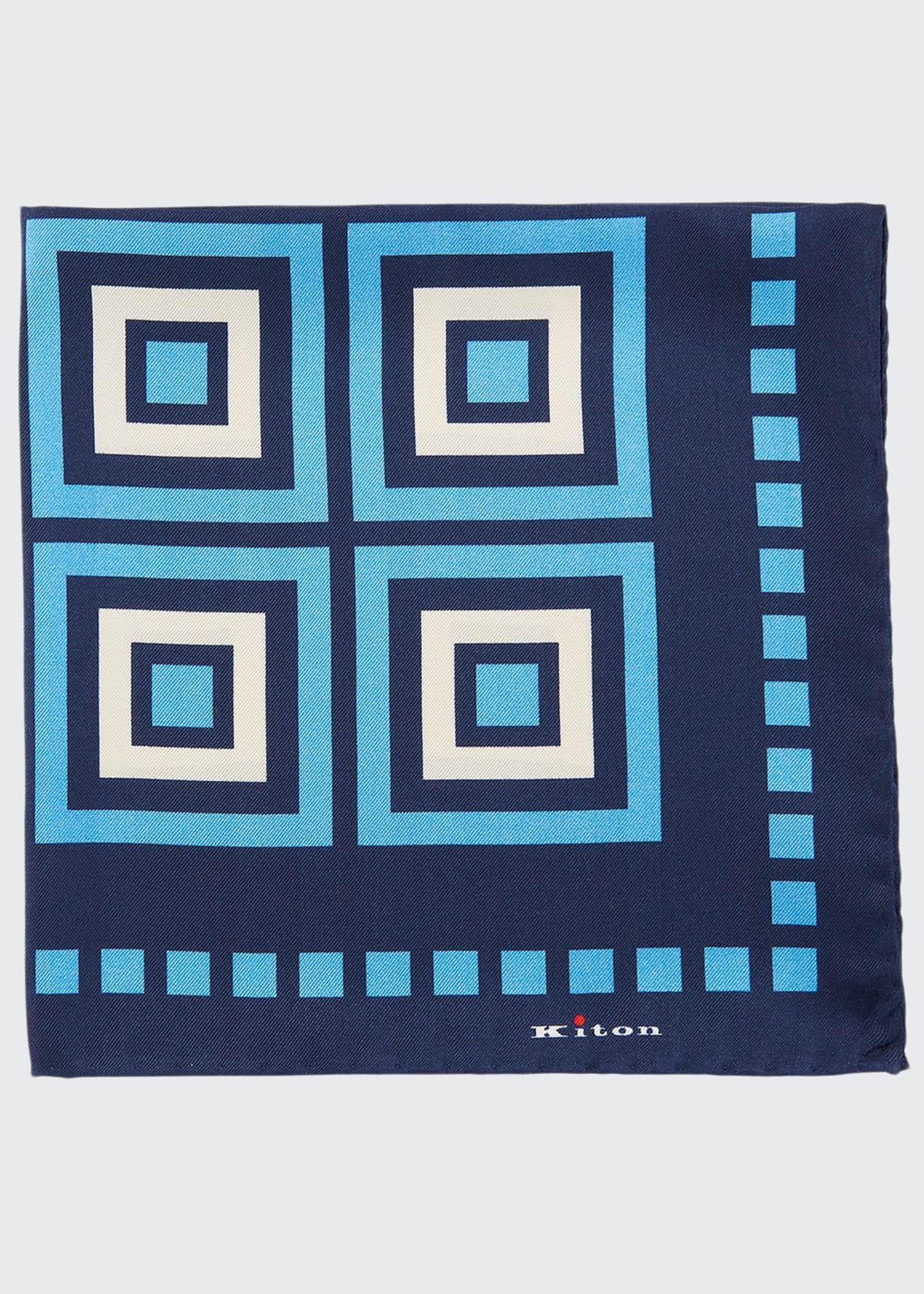 Kiton Men's Large Box Silk Pocket Square
