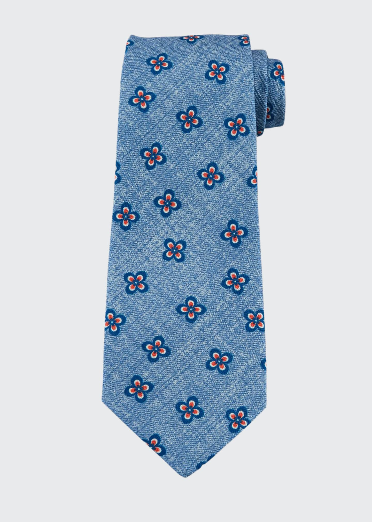 Kiton Four-Petal Floral Silk Tie