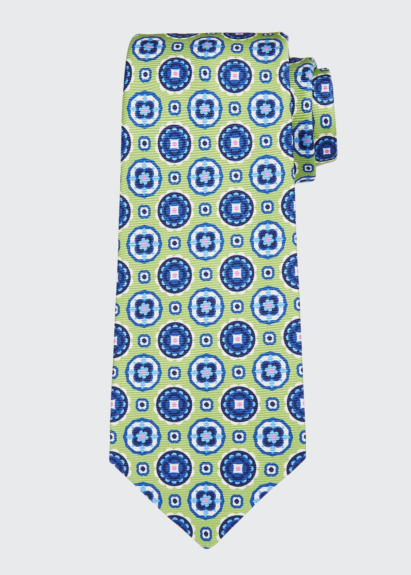 Kiton Men's Circle Medallions Silk Tie