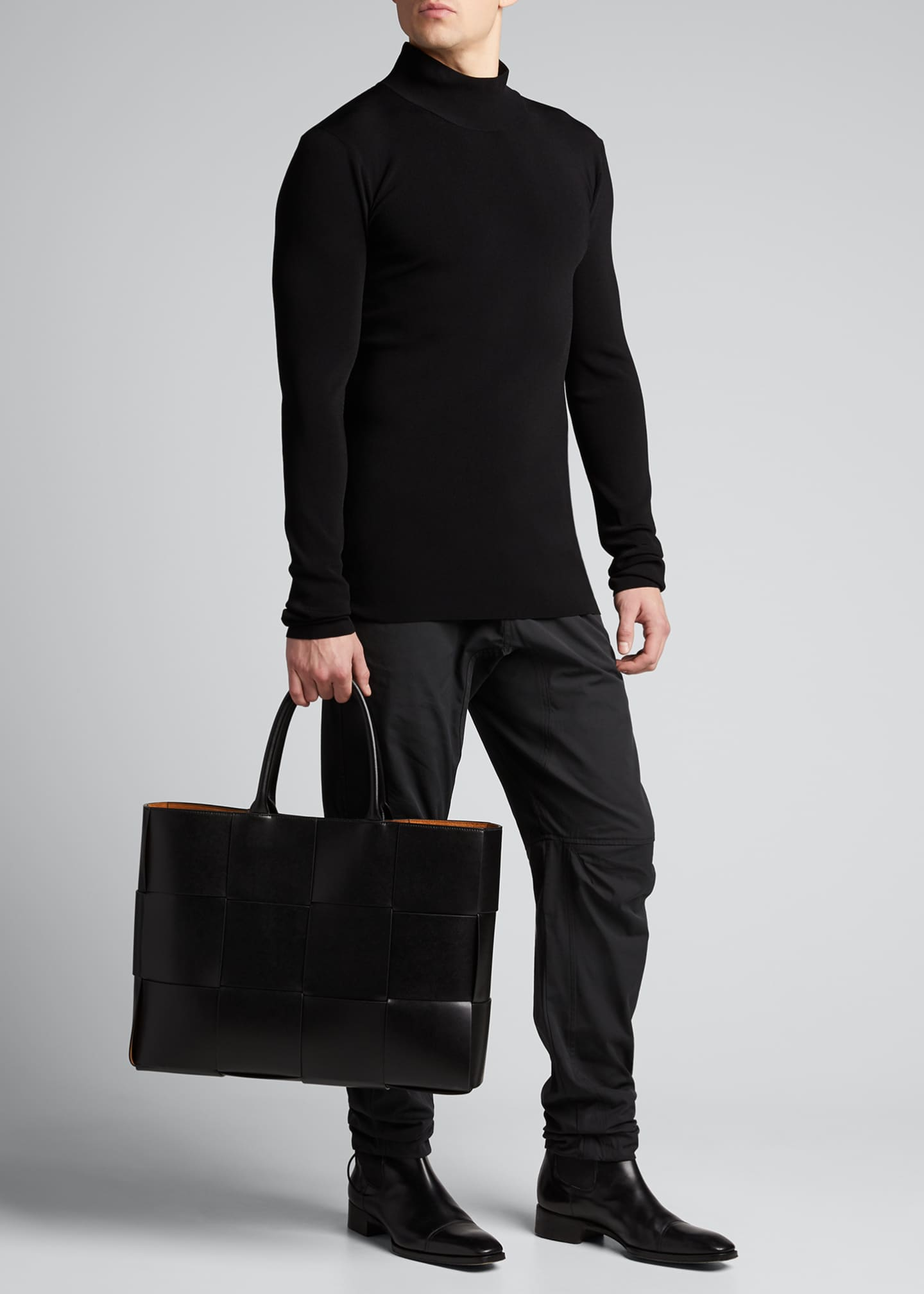 Image 5 of 5: Men's Borsa Large Woven Leather Tote Bag
