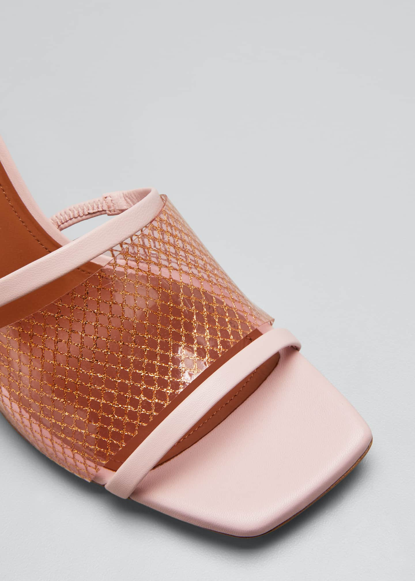 Image 5 of 5: Demi 70mm PVC Woven Metallic Mule Sandals