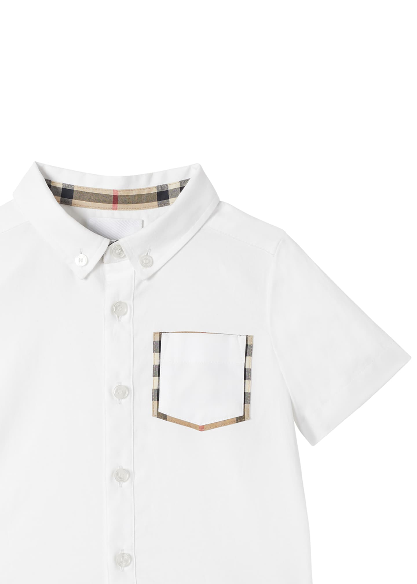 Image 4 of 4: Boy's Harry Button Front Shirt w/ Check Trim Pocket, Size 6M-2