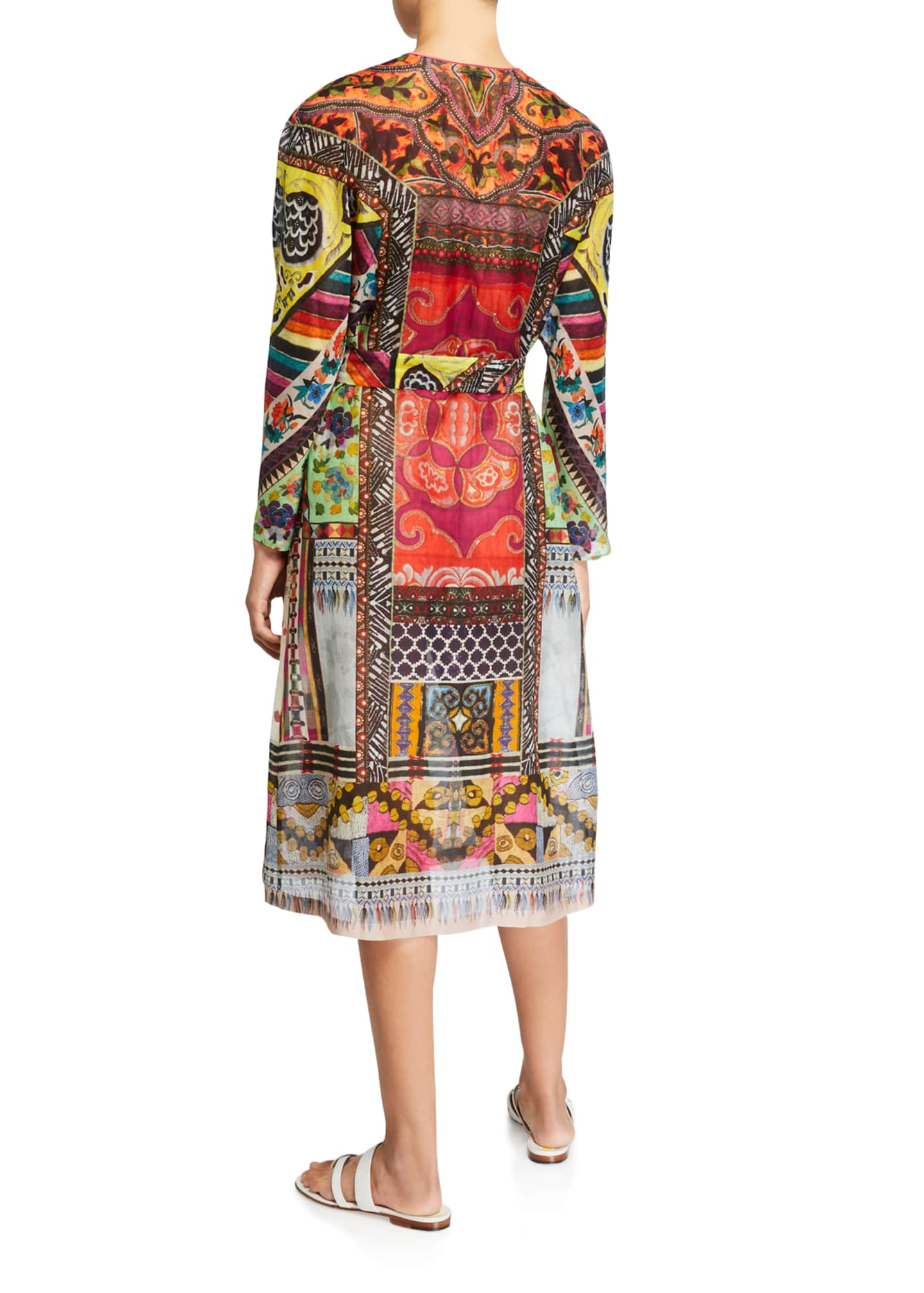 Image 2 of 2: Patchwork Print Long-Sleeve Dress