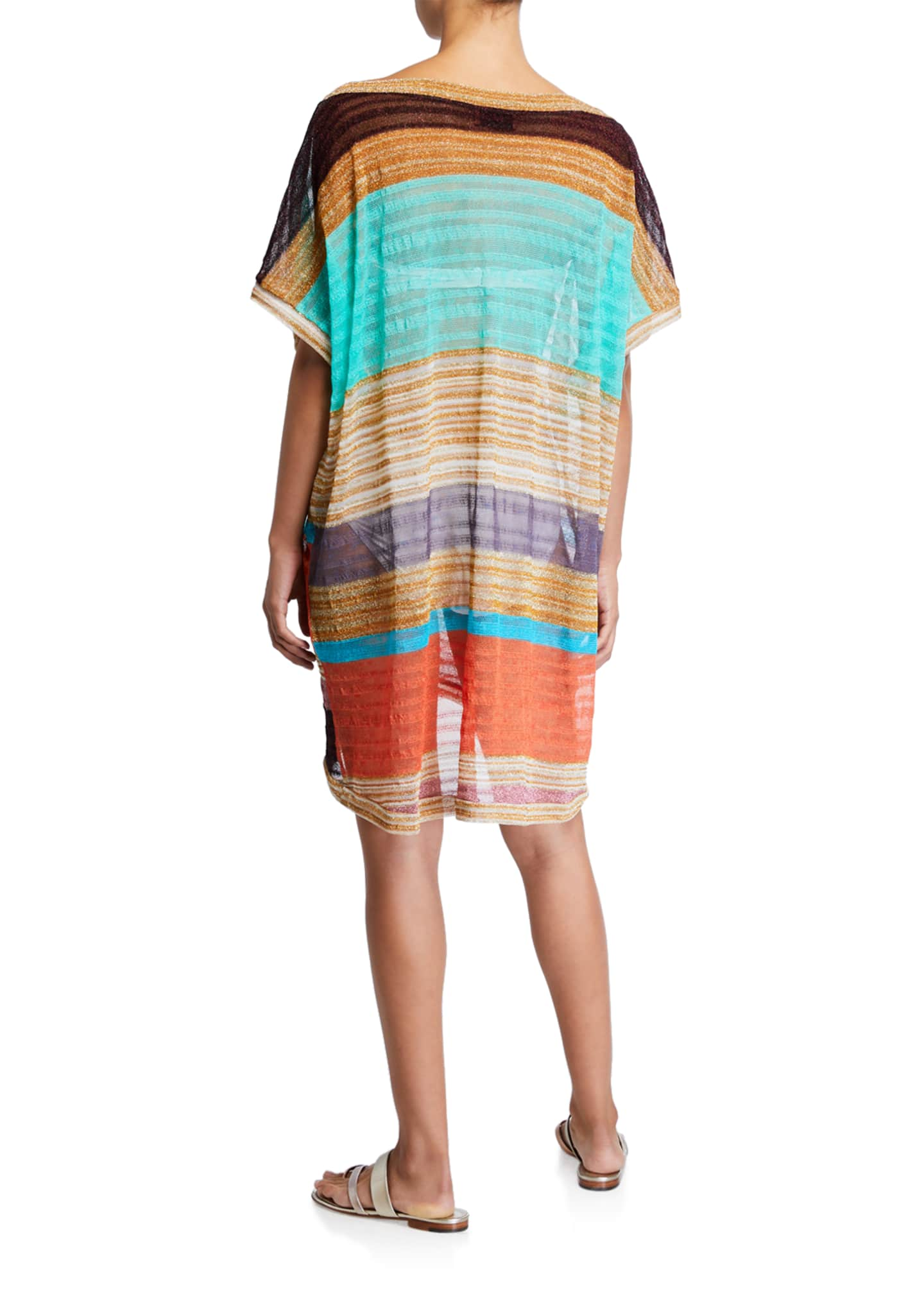 Image 2 of 2: Striped Boat-Neck Short Coverup Caftan