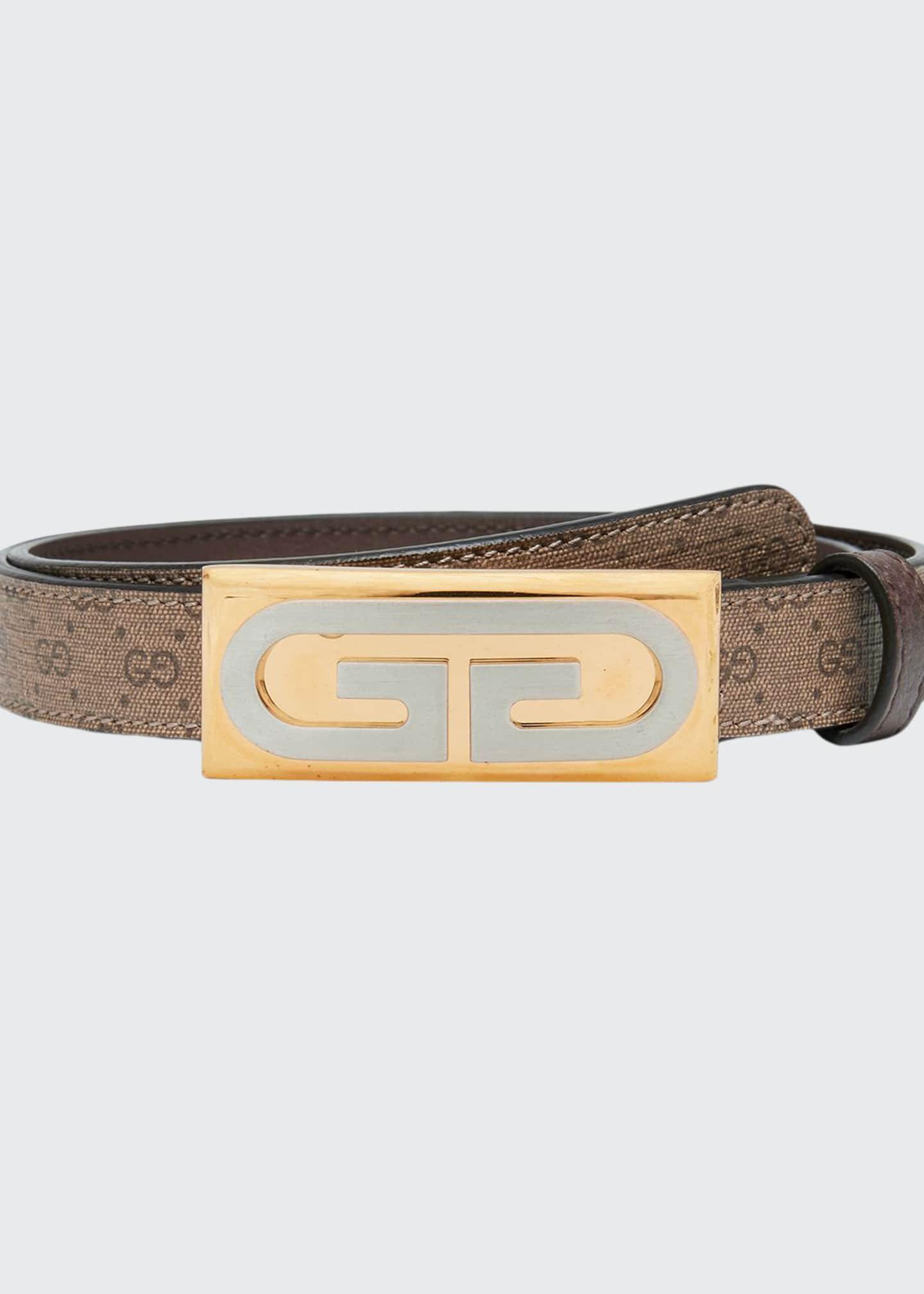 Gucci GG Plaque Canvas Belt