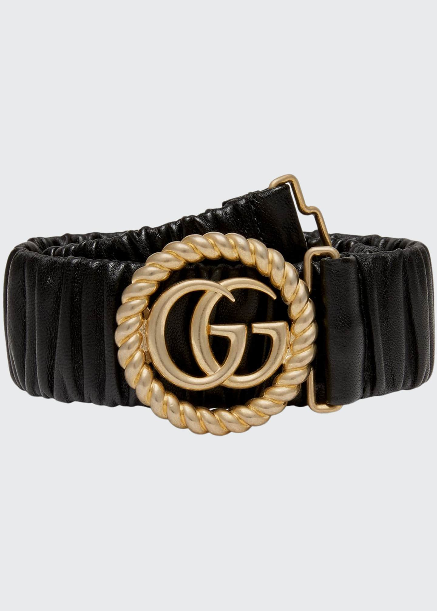 Image 1 of 1: GG Ring Stretch Leather Belt