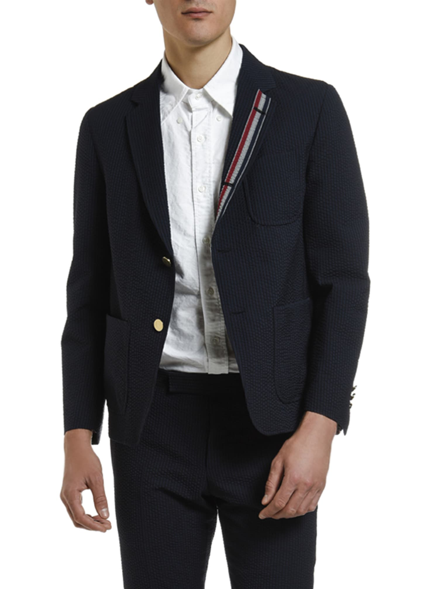 Image 3 of 4: Men's Wool Seersucker Unconstructed Sport Jacket