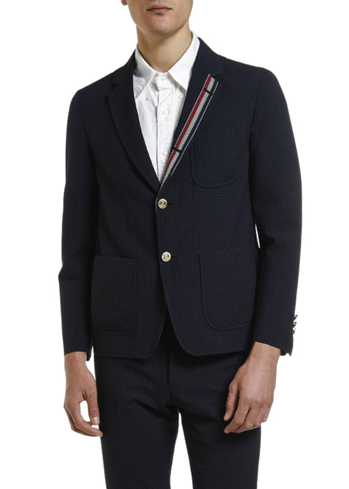 Image 1 of 4: Men's Wool Seersucker Unconstructed Sport Jacket