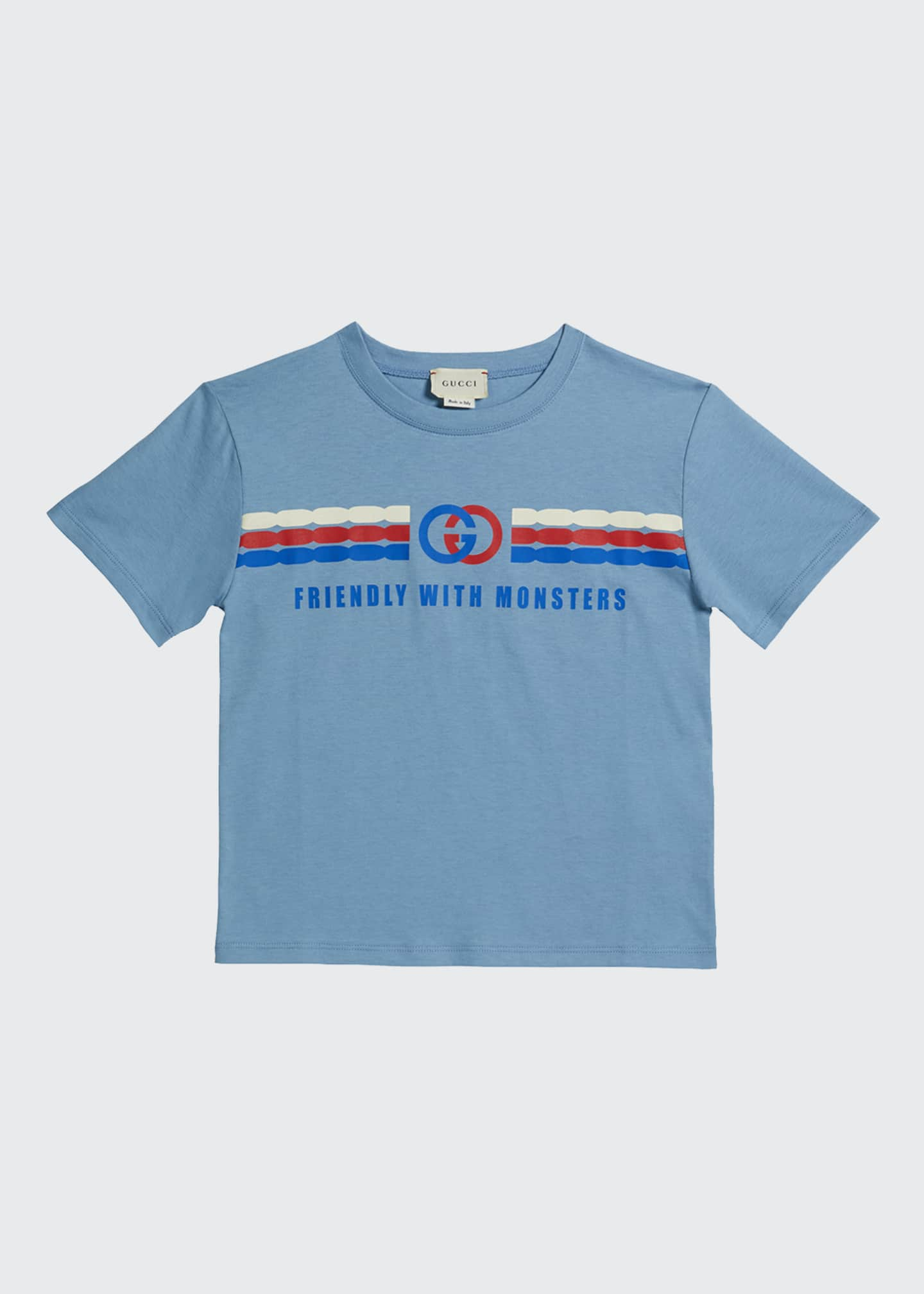 Image 1 of 1: Kid's Friendly with Monsters Logo Tee, Size 4-12