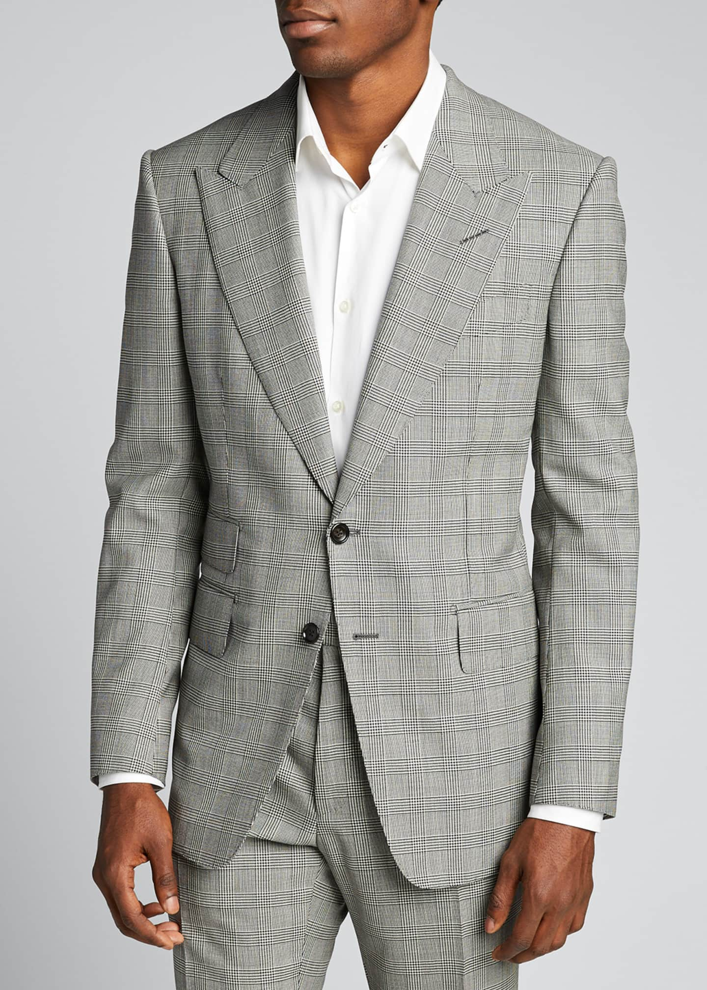 Image 3 of 5: Men's Prince of Wales Wool Two-Piece Suit