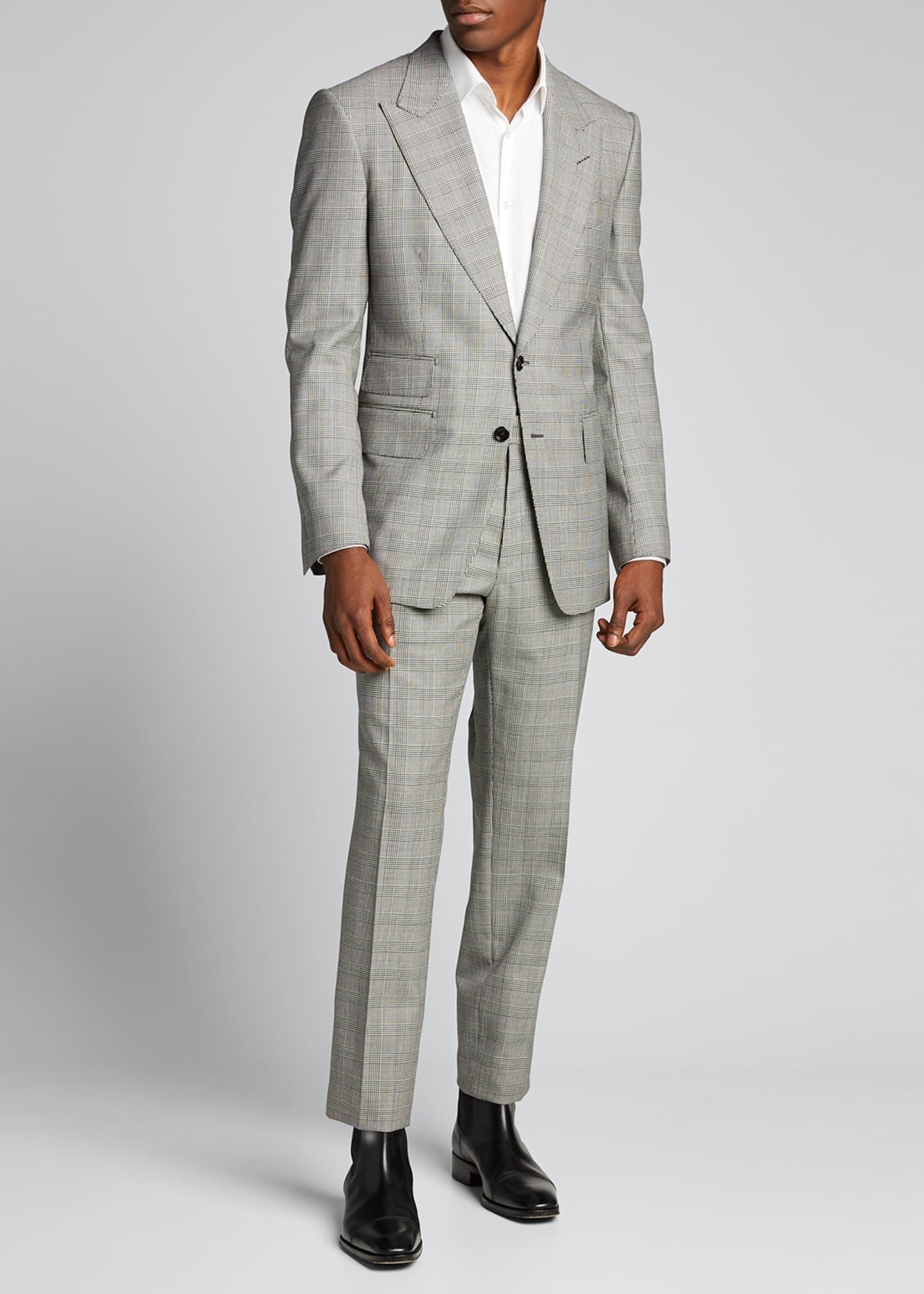 Image 1 of 5: Men's Prince of Wales Wool Two-Piece Suit