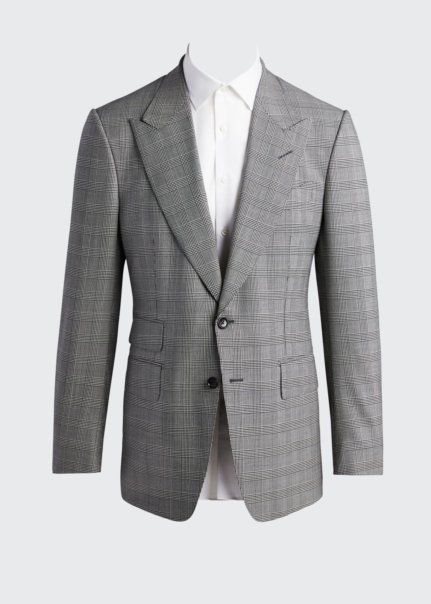 Image 5 of 5: Men's Prince of Wales Wool Two-Piece Suit