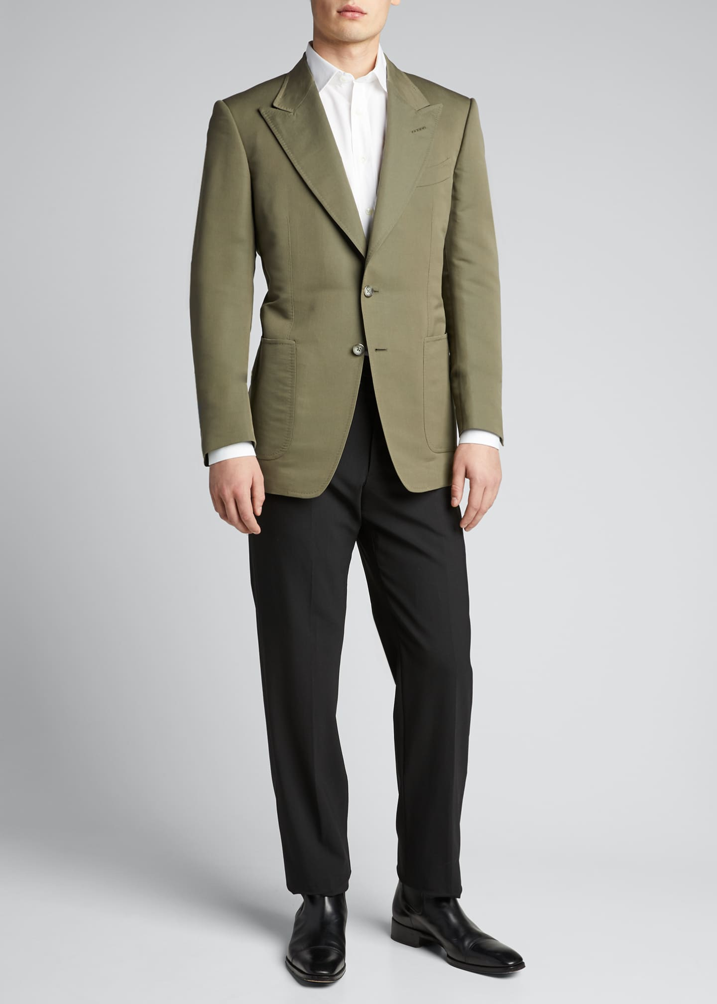 Men's Peak-Lapel Poplin Shelton Dinner Jacket