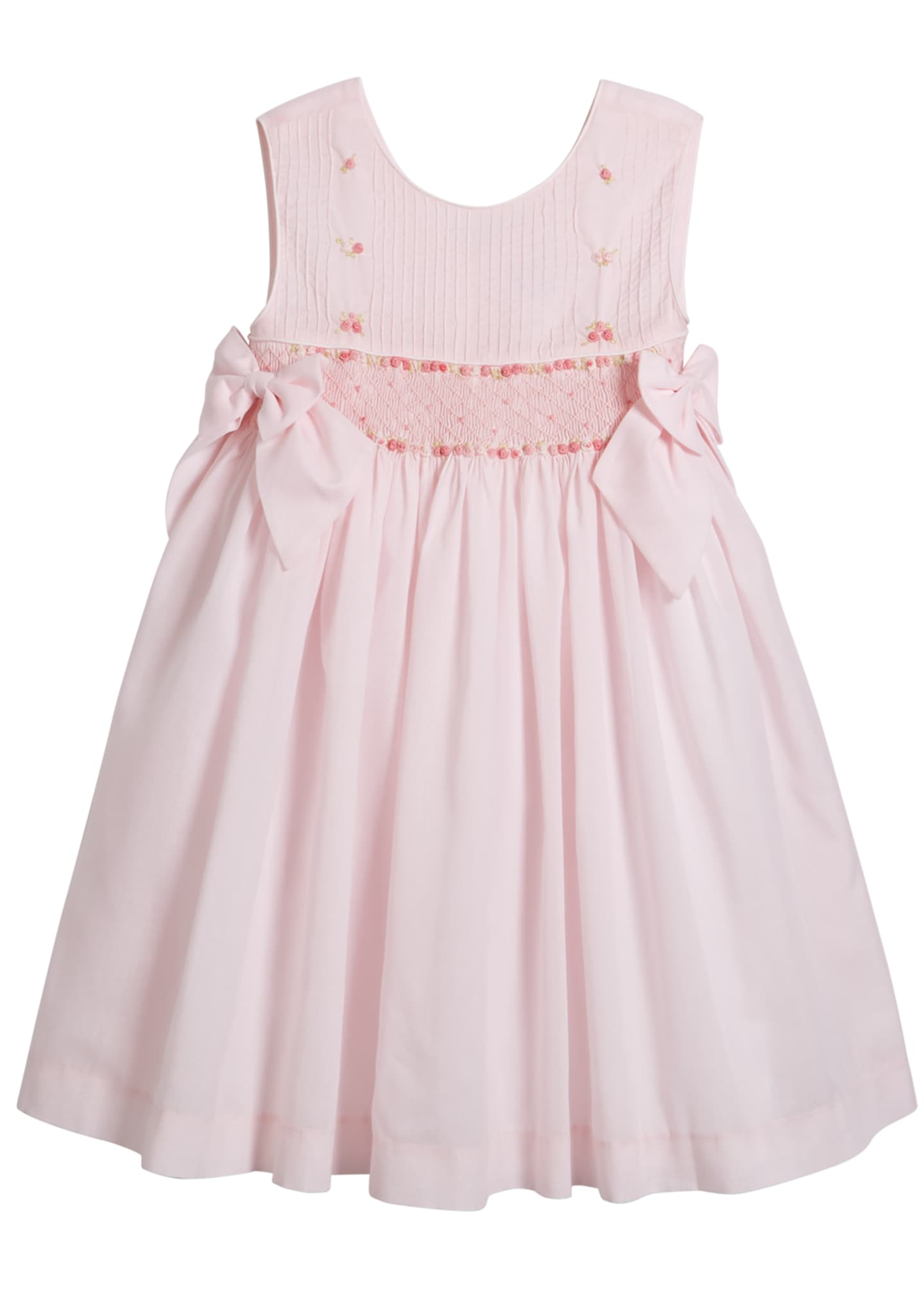 Luli & Me Sleeveless Smocked Bow Dress, Size