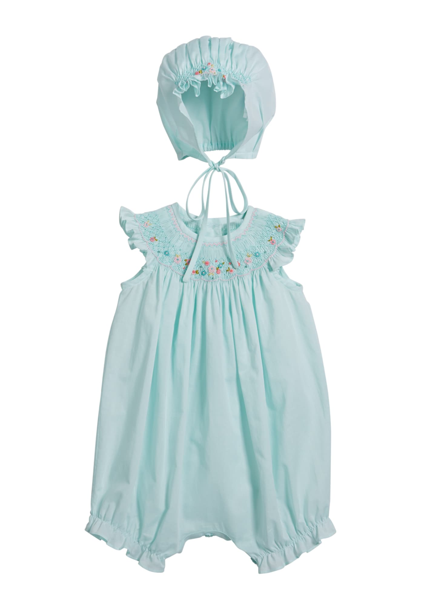 Luli & Me Smocked Bubble Romper with Bonnet,