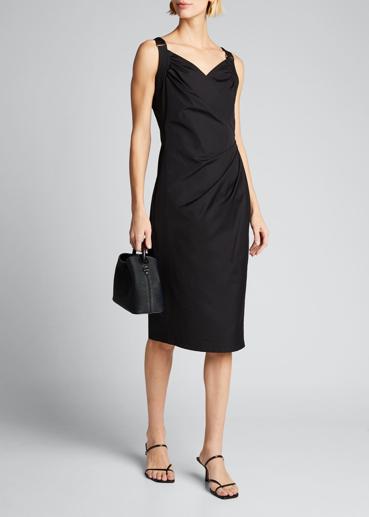 Image 1 of 5: Cotton Poplin Ruched Dress