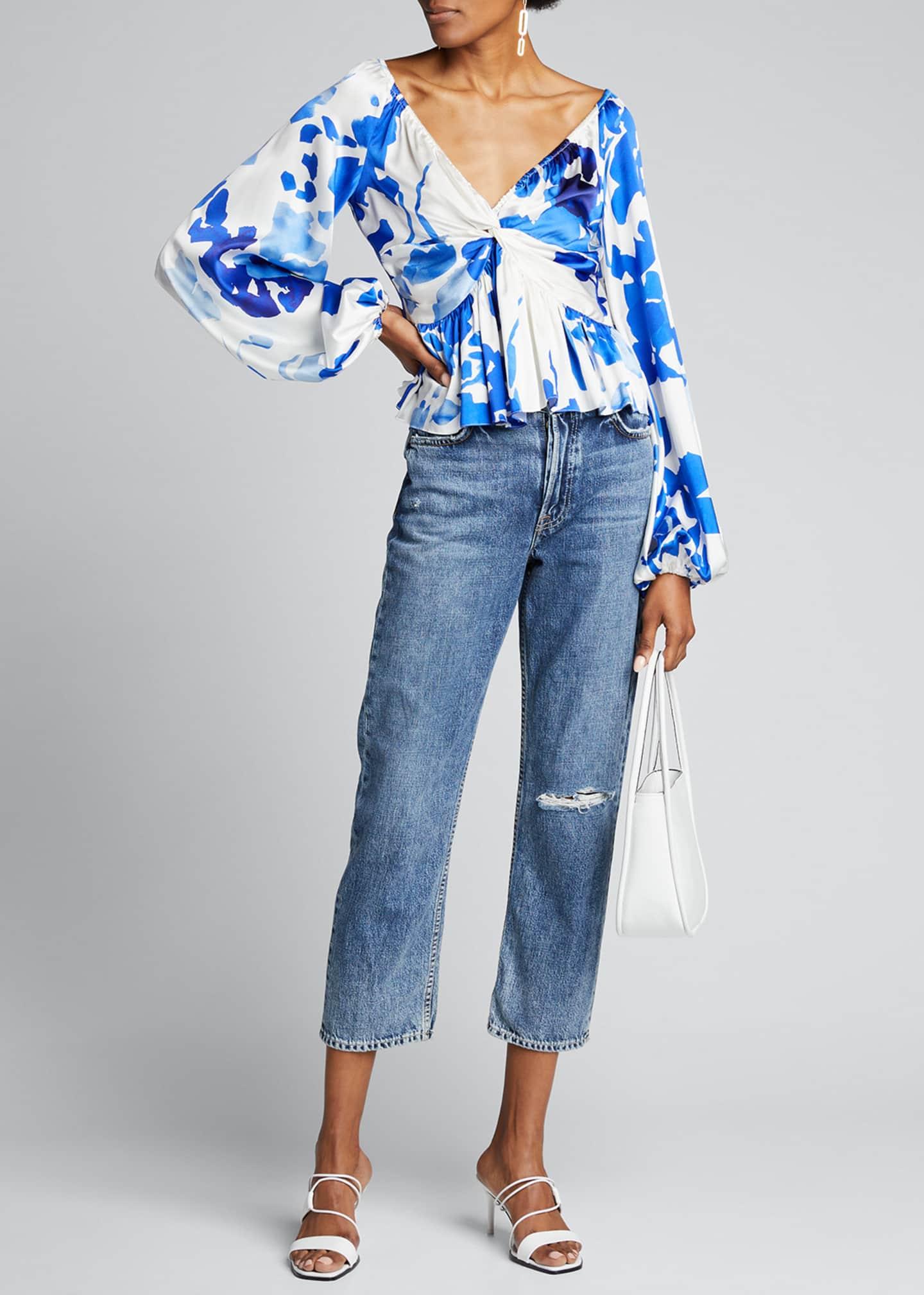 Caroline Constas Onira Blouson-Sleeve Top