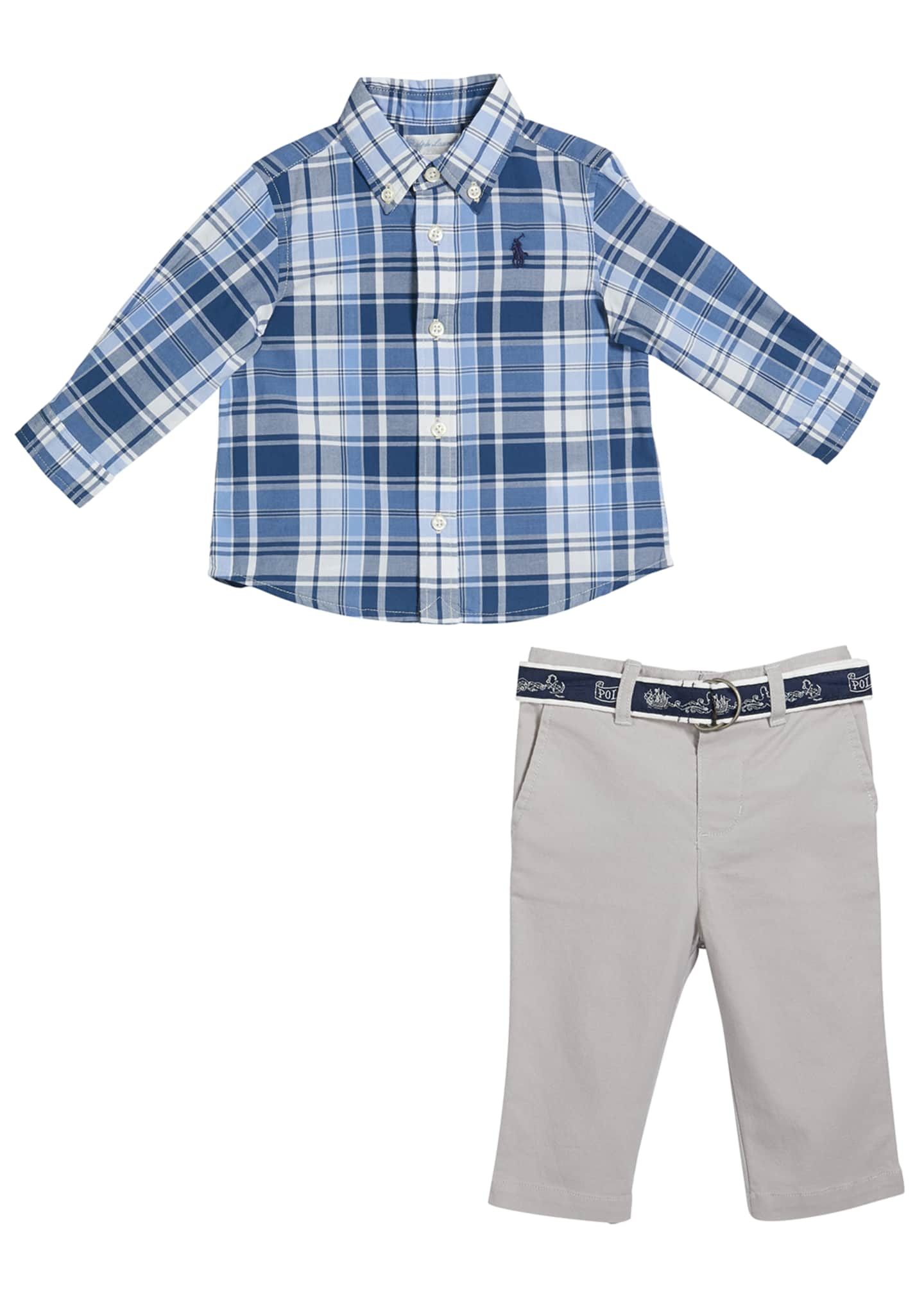 Image 1 of 2: Boy's Plaid Button-Down Shirt w/ Twill Pants & D-Ring Belt, Size 6-24 Months