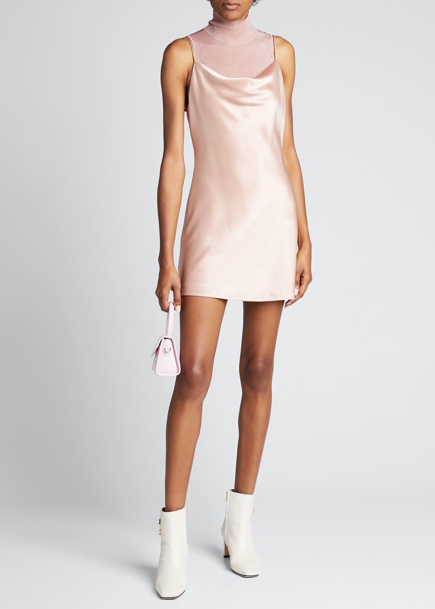 Alice + Olivia Harmony Draped Satin Slip Dress