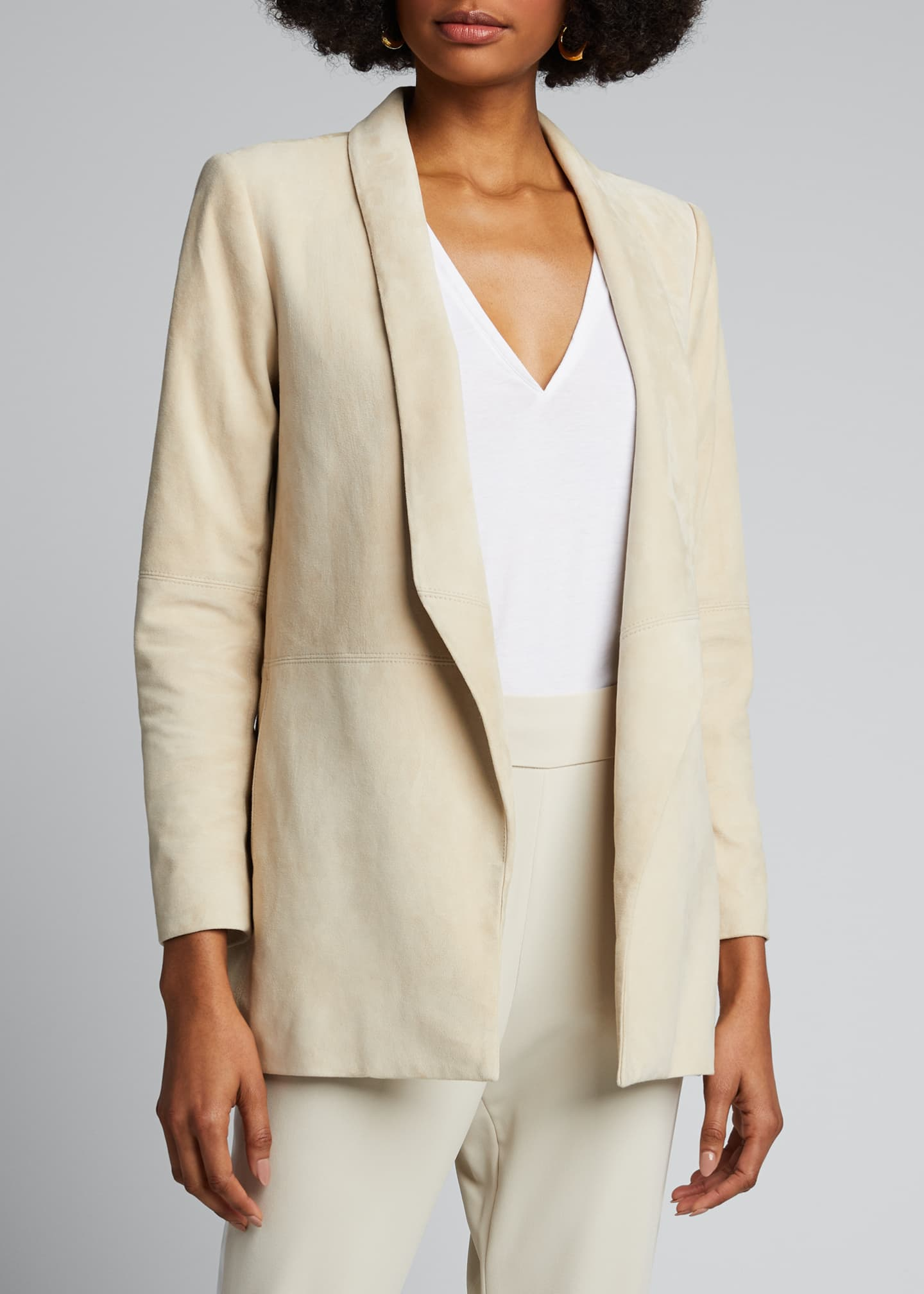 Image 3 of 4: Xavier Suede Draped Jacket