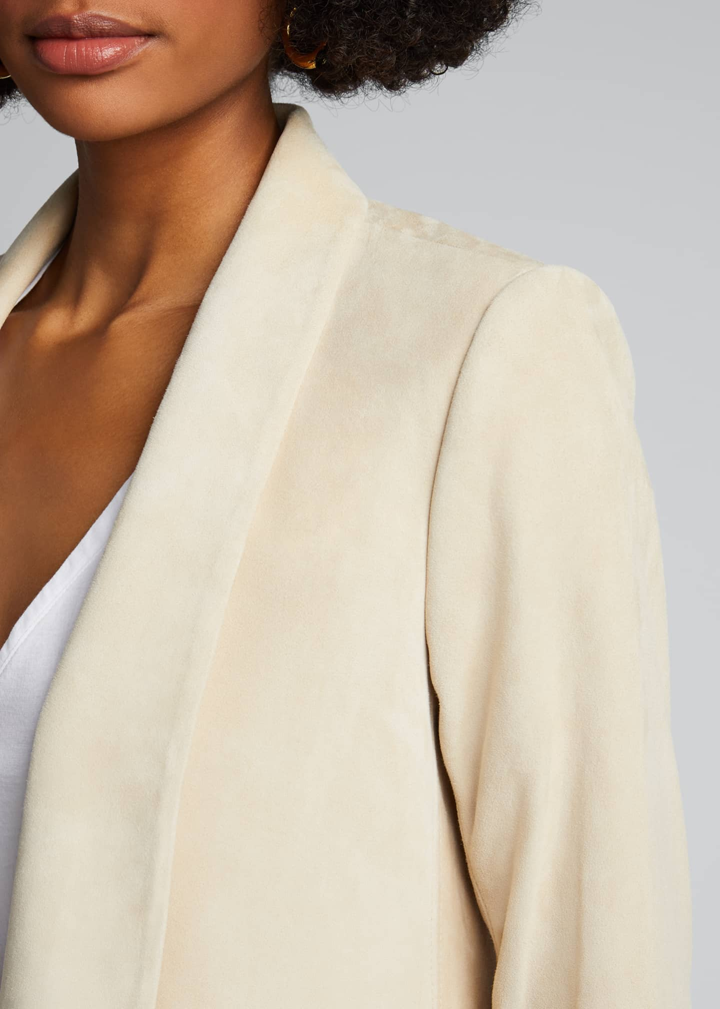 Image 4 of 4: Xavier Suede Draped Jacket