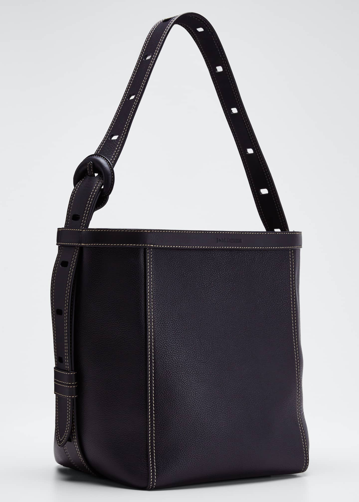 Image 2 of 4: Leather Tonne Hobo Bag