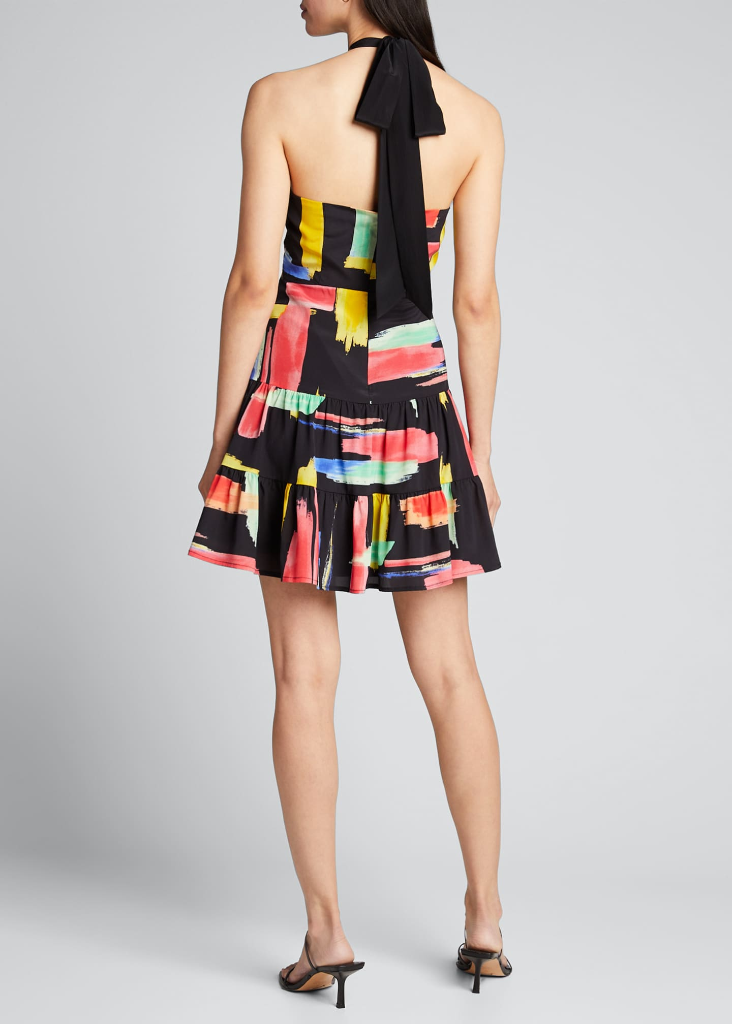 Image 2 of 5: Modern Brushstroke Print Tiered Halter Dress