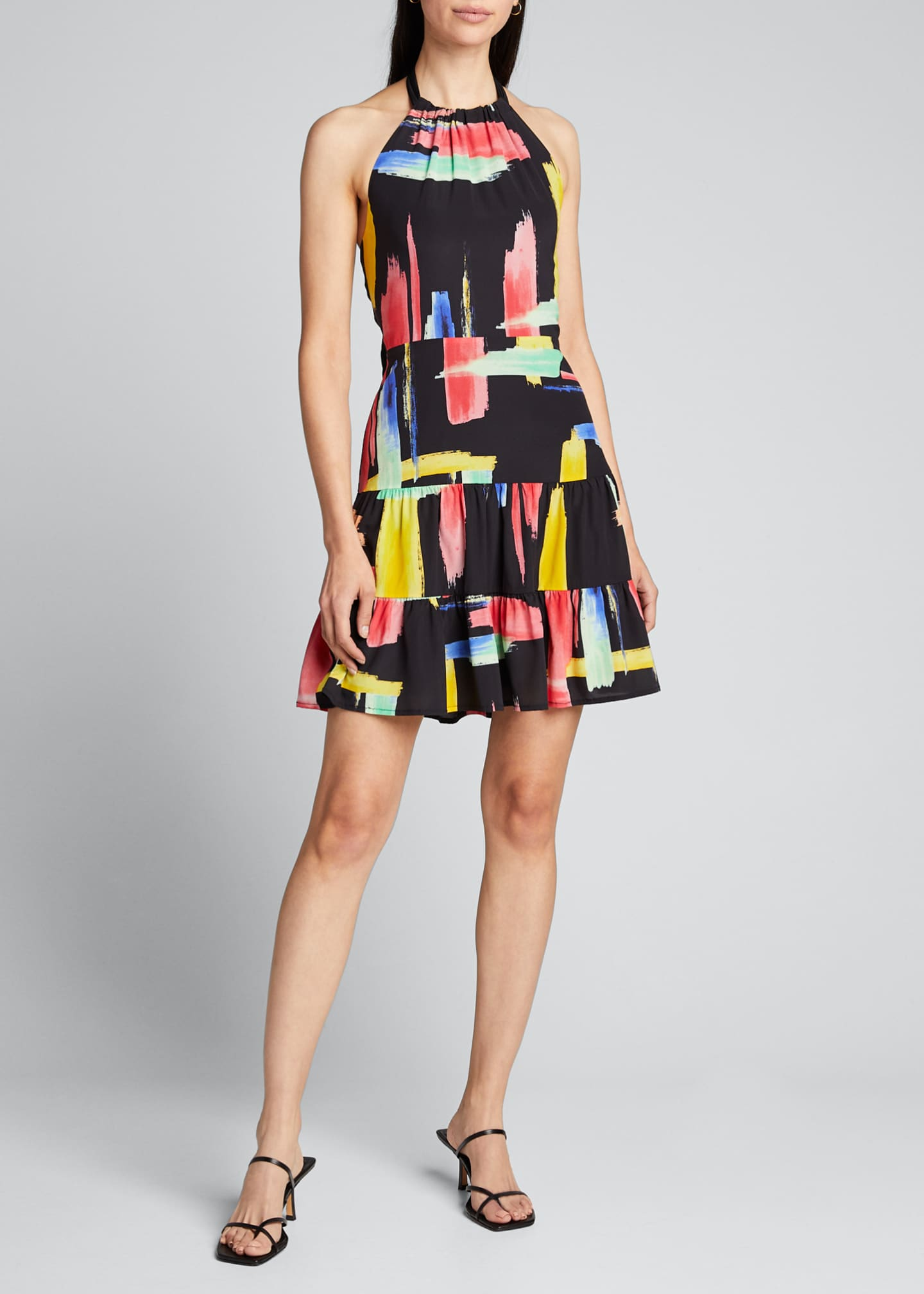 Image 3 of 5: Modern Brushstroke Print Tiered Halter Dress
