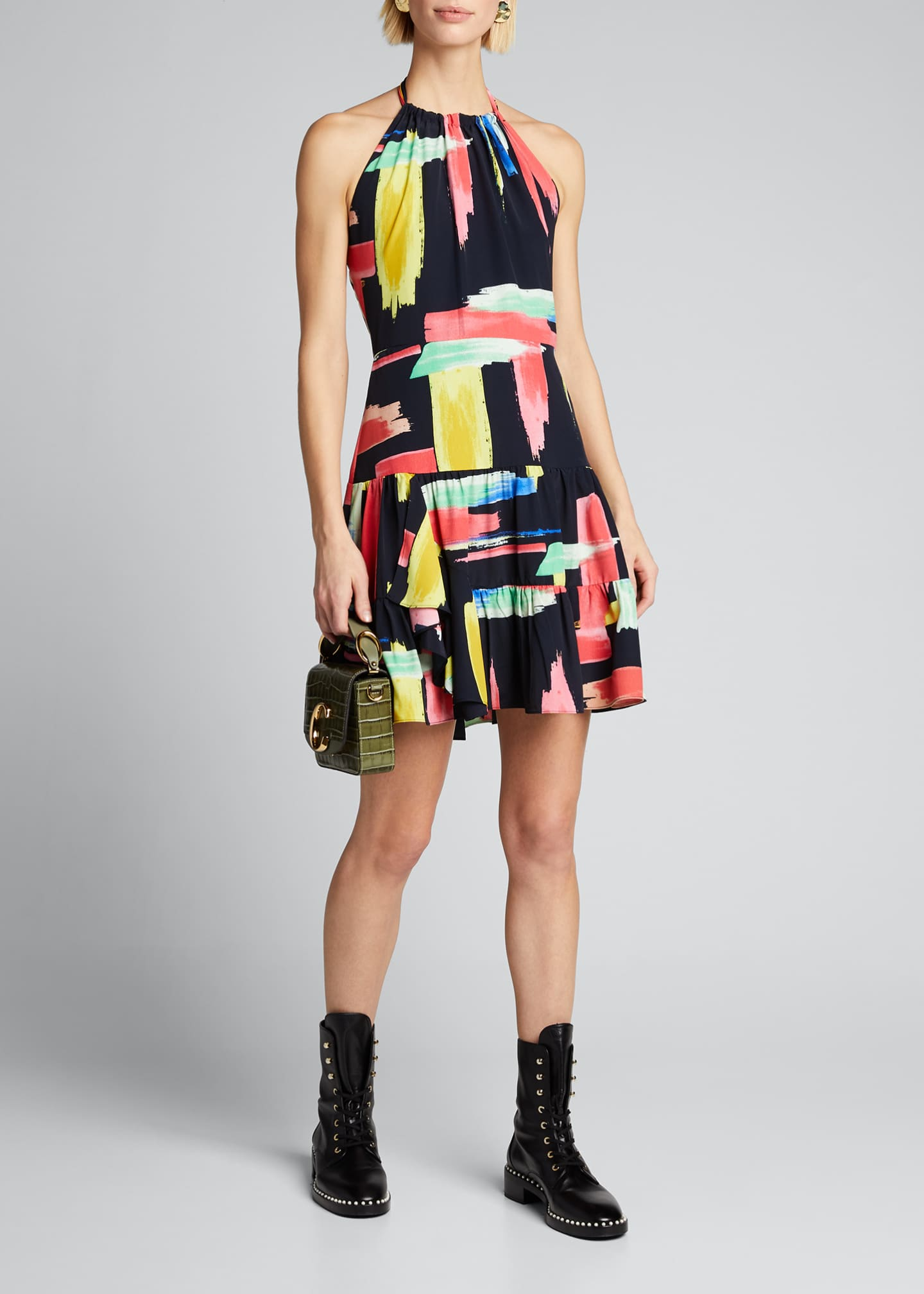 Image 1 of 5: Modern Brushstroke Print Tiered Halter Dress