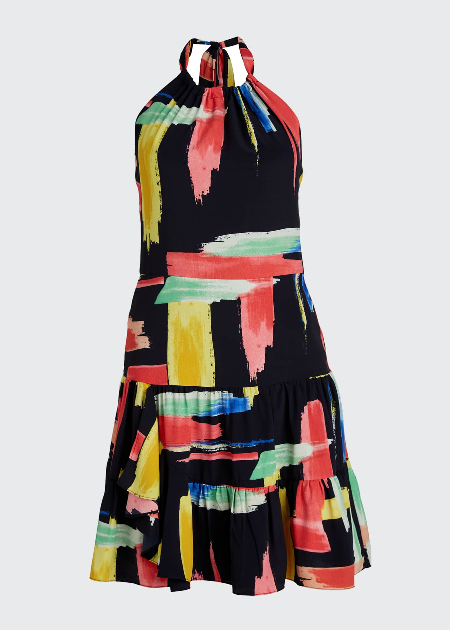 Image 5 of 5: Modern Brushstroke Print Tiered Halter Dress